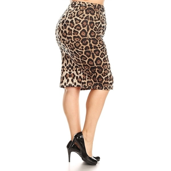 9a6b4958cfa Shop Women s Plus Size Leopard Print Pencil Skirt - On Sale - Free Shipping  On Orders Over  45 - Overstock - 17491905