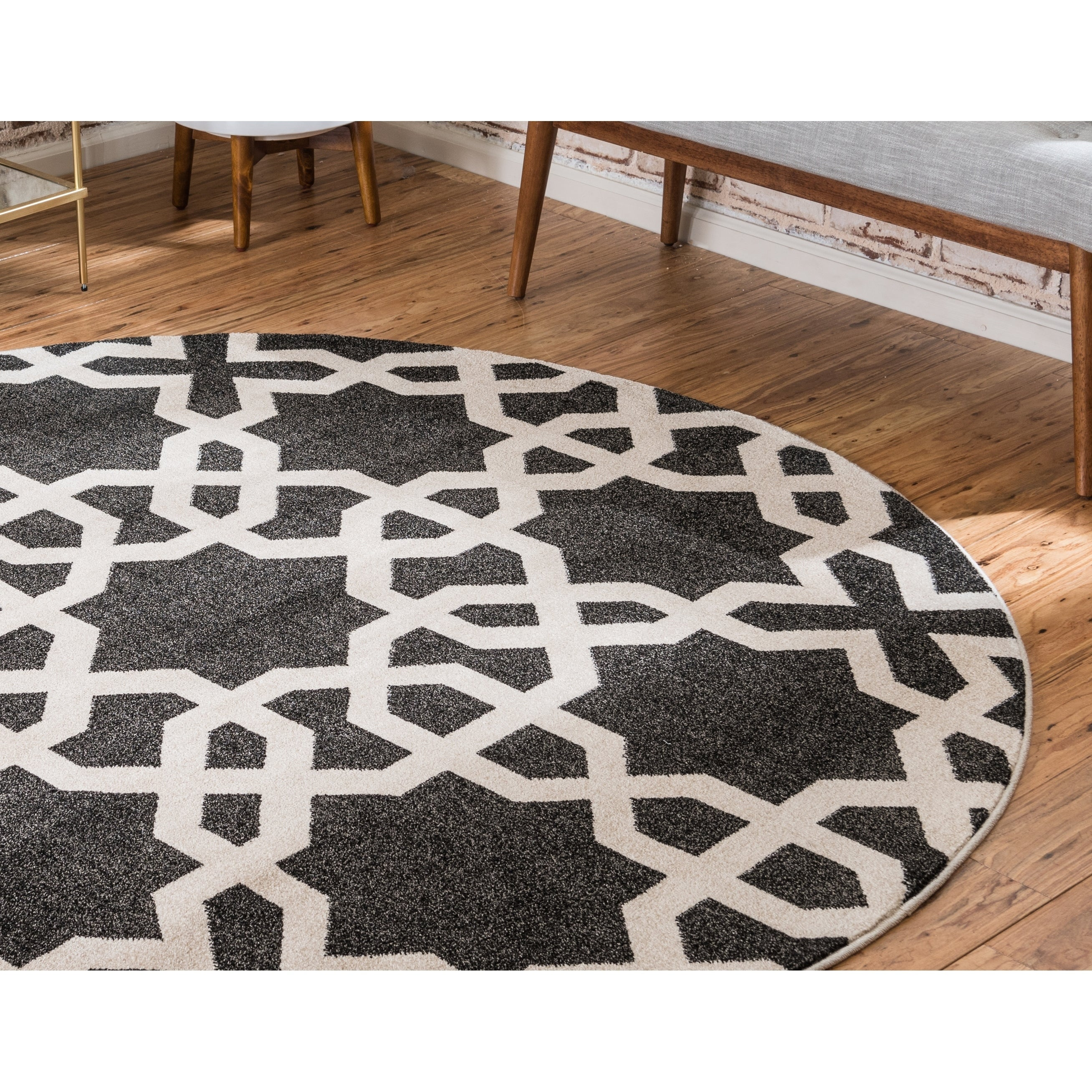 Trellis Black Cream Round Rug 3 X Free Shipping On Orders Over 45 Com 23720383