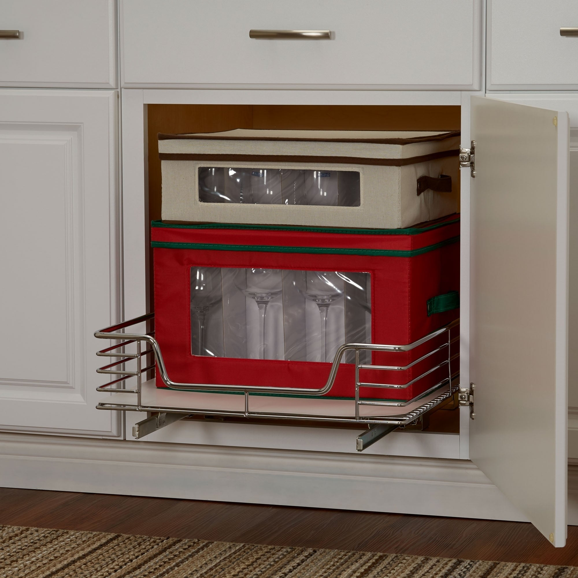 Shop Deep 20 Inch Glidez Sliding Under Cabinet Organizer, Chrome With Liner    Free Shipping Today   Overstock.com   17520658