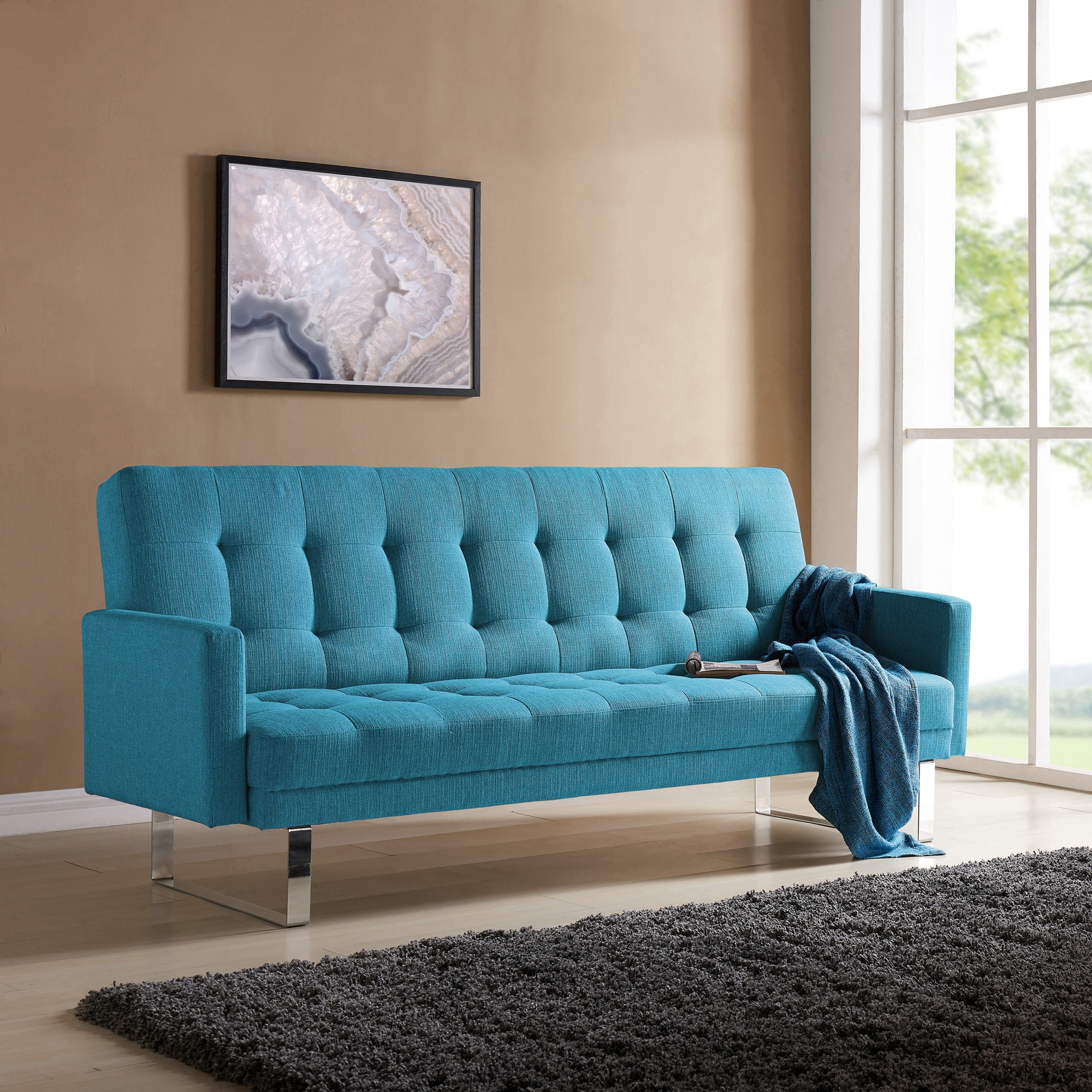 Handy Living Springfield Turquoise Blue Linen Click Clack Futon Sofa Bed On Free Shipping Today Com 17520741