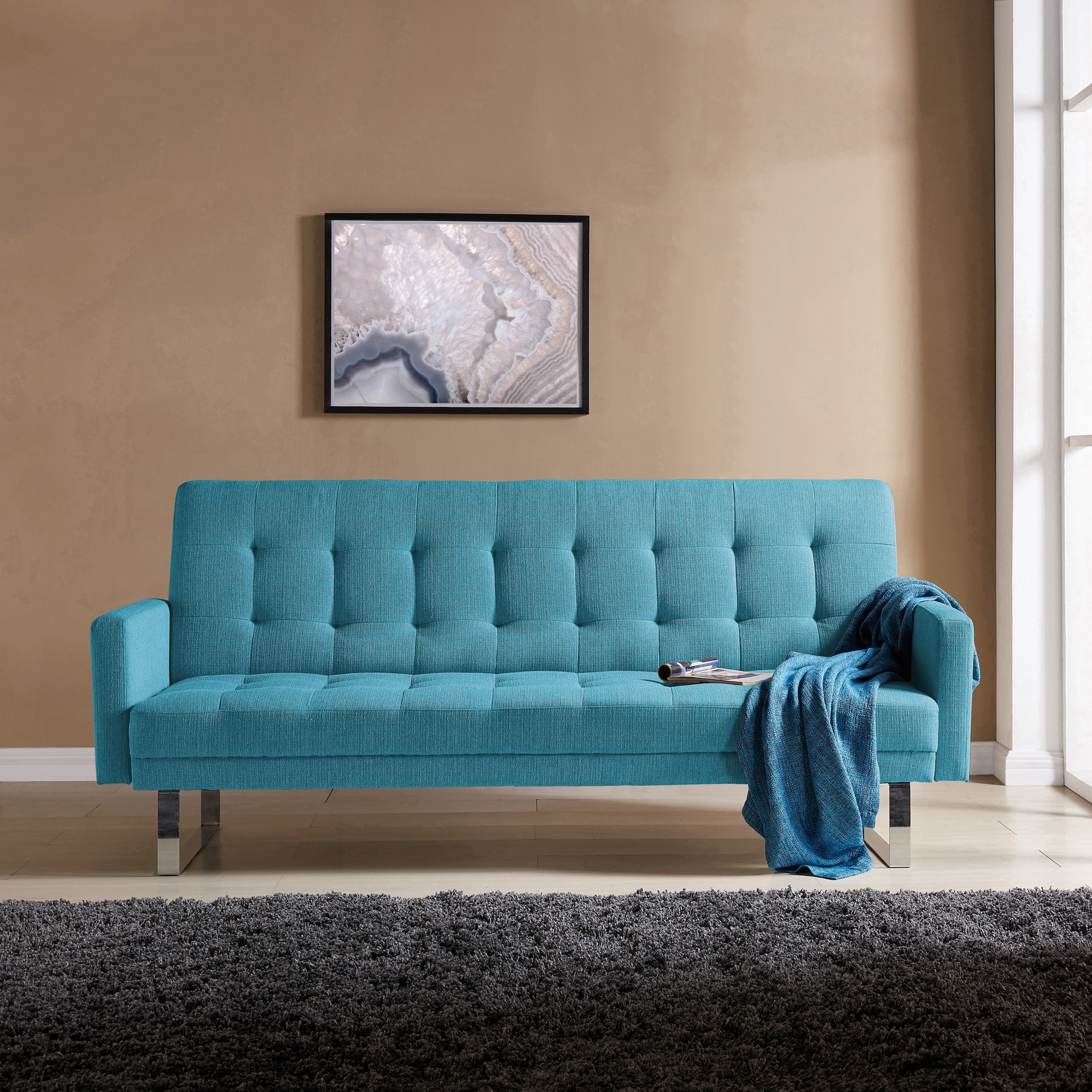 Beautiful Handy Living Springfield Turquoise Blue Linen Click Clack Futon Sofa Bed    Free Shipping Today   Overstock   23746045
