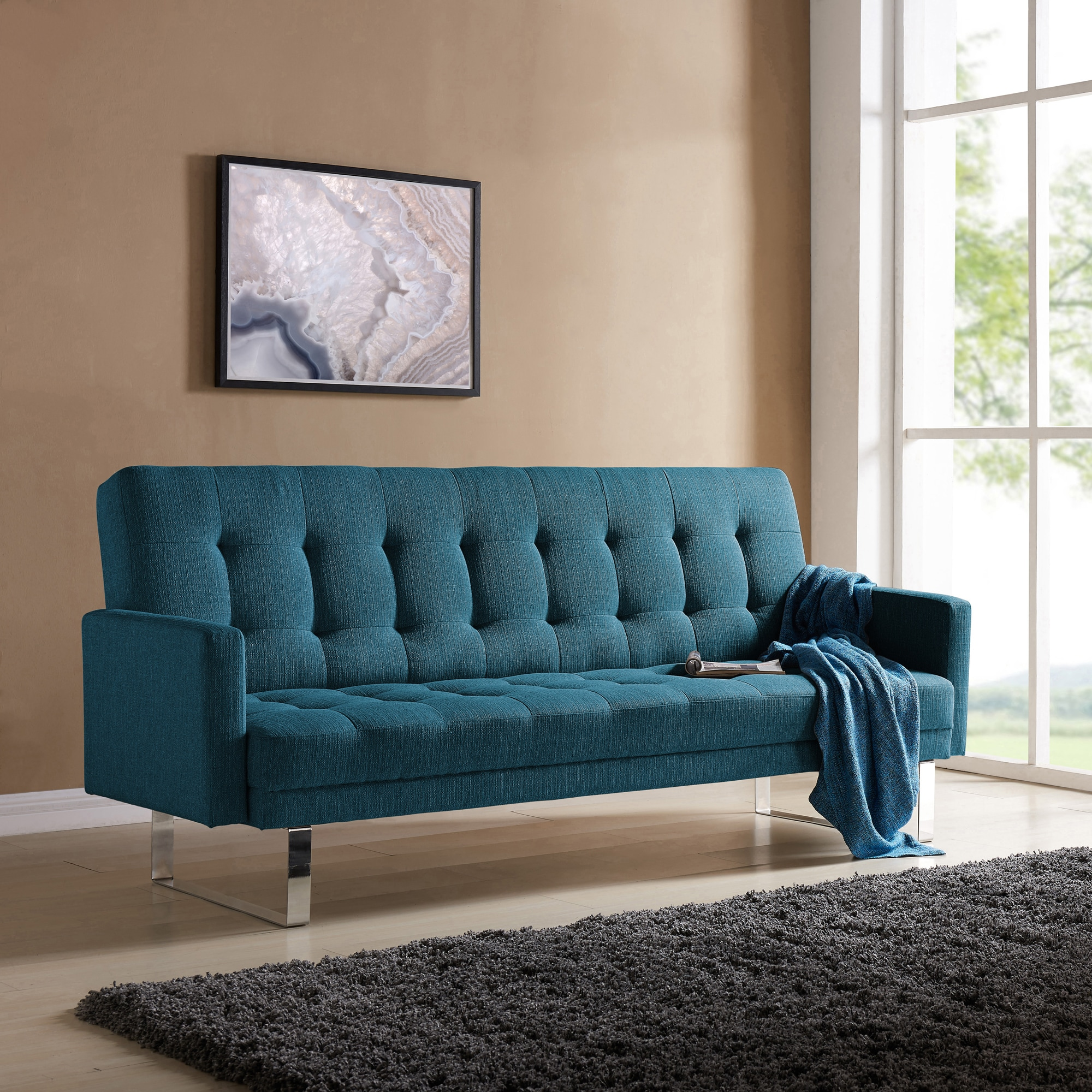 Handy Living Springfield Caribbean Blue Linen Click Clack Futon Sofa Bed On Free Shipping Today Com 17520743