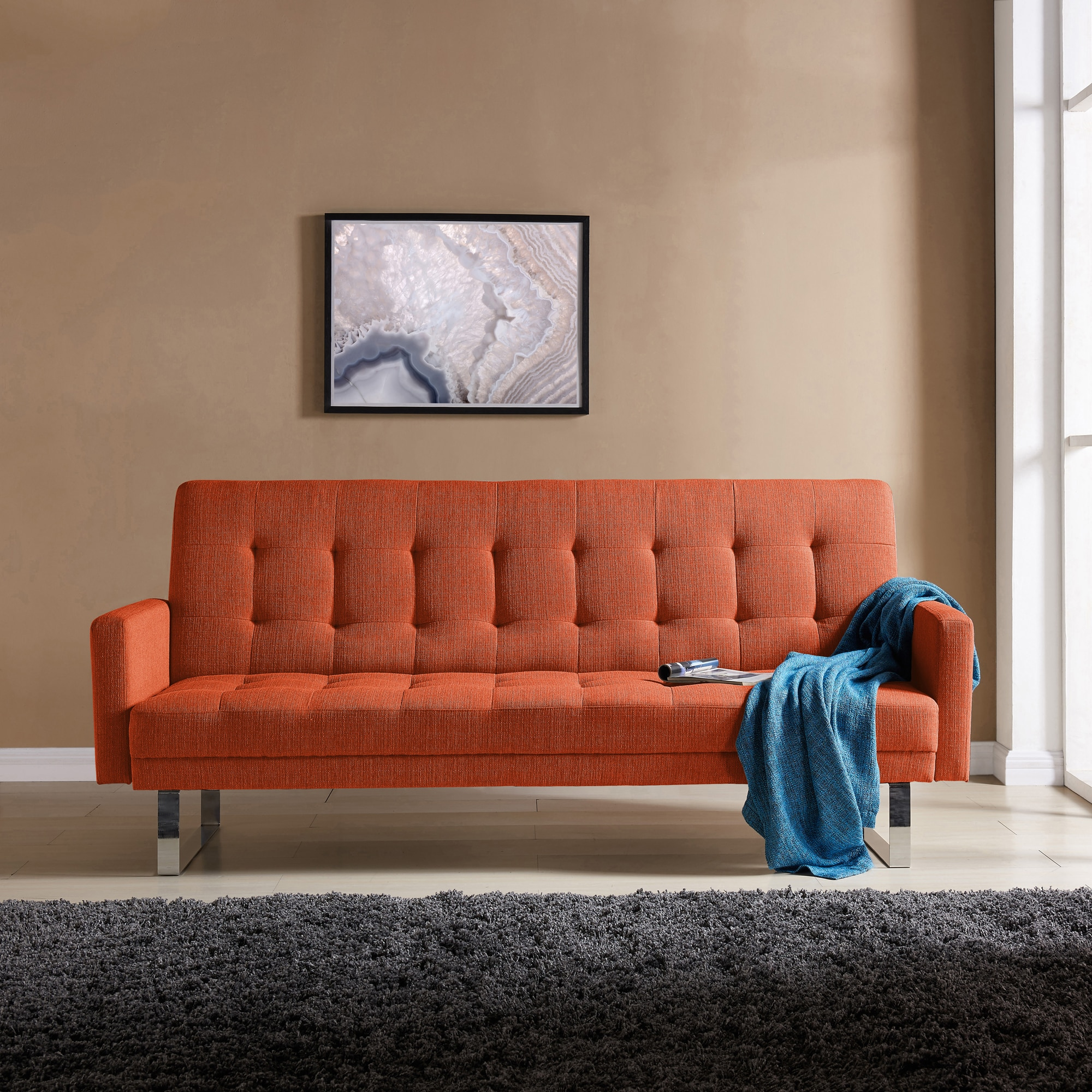 Delicieux Shop Handy Living Springfield Orange Linen Click Clack Futon Sofa Bed   On  Sale   Free Shipping Today   Overstock.com   17520744