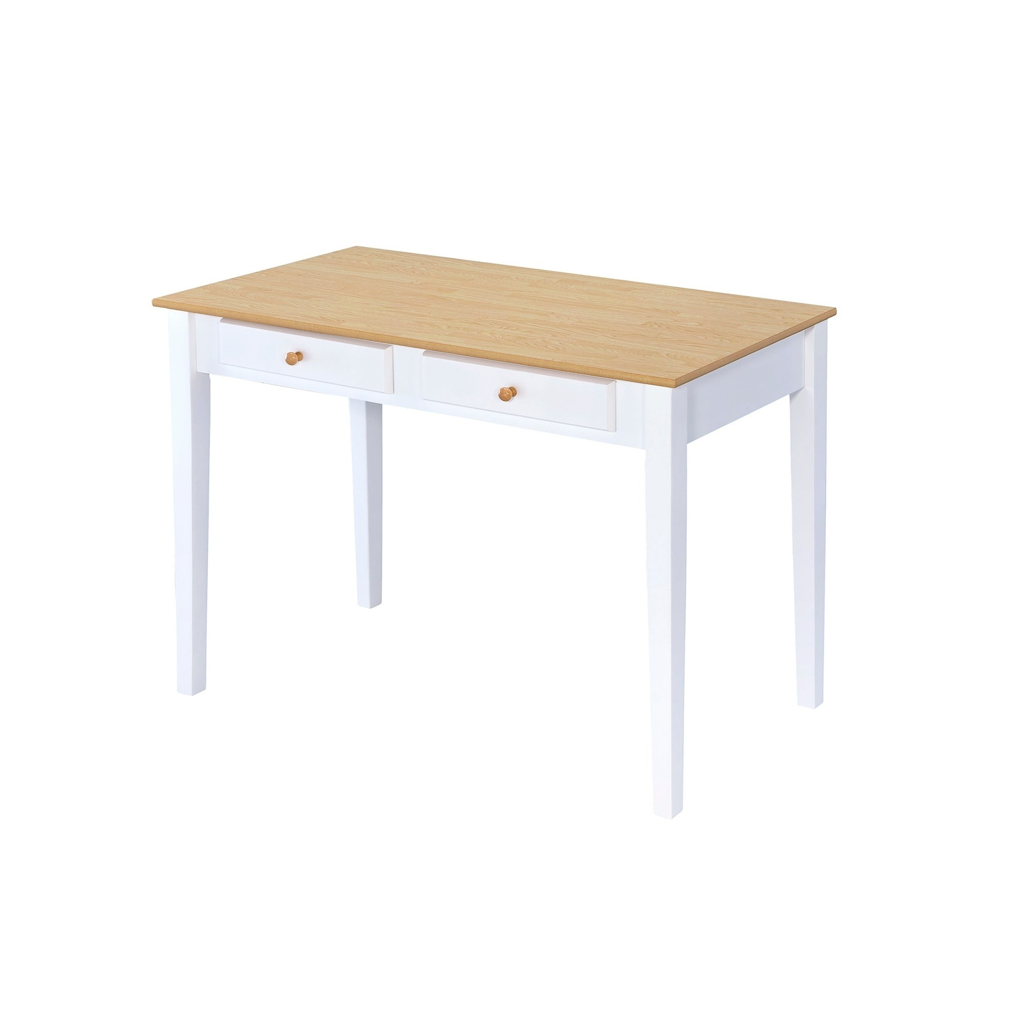 Ore International Oak Top Cottage White Desk With Two Drawers