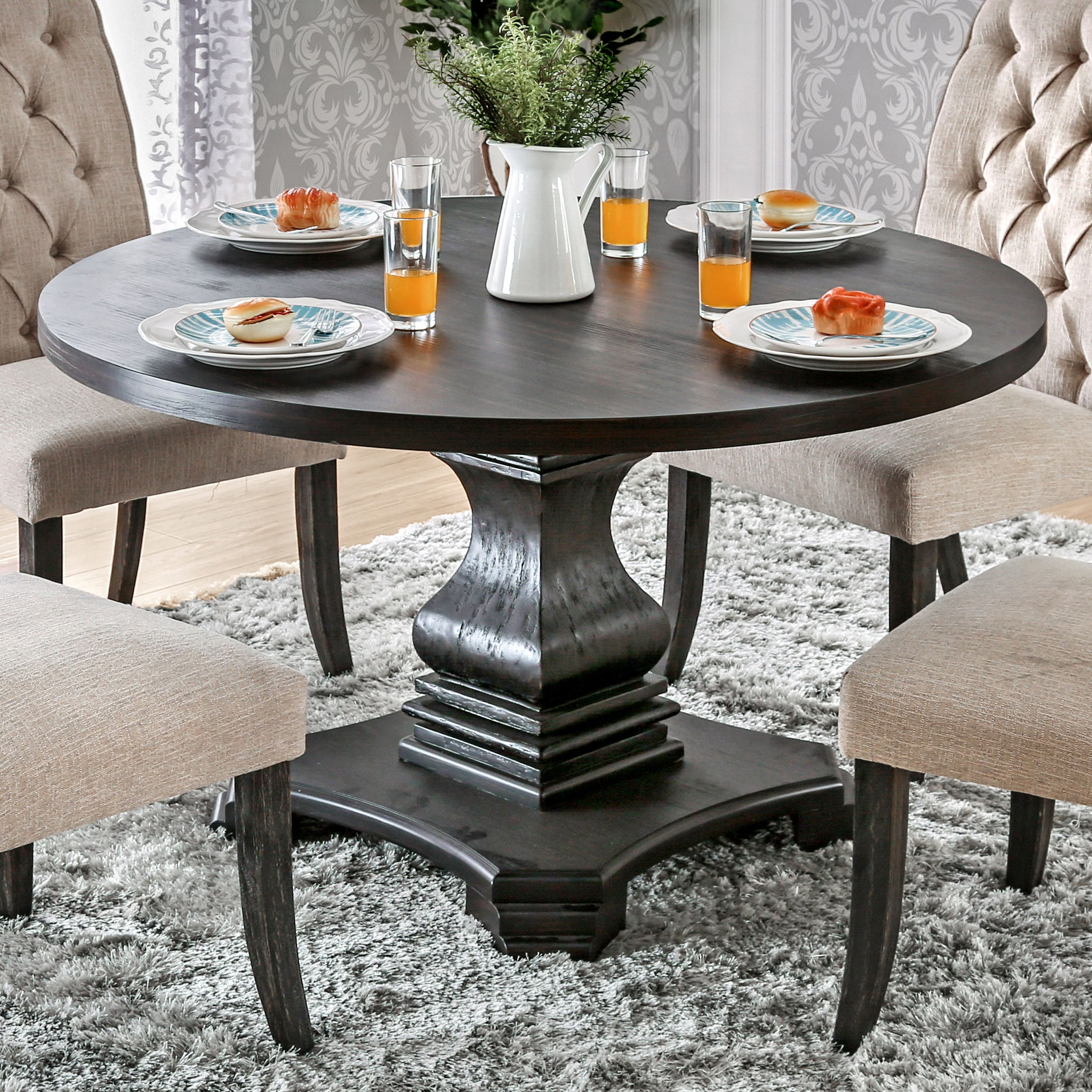 Furniture Of America Lucena Antique Black Wood Traditional Farmhouse Style Pedestal Base Round Dining Table