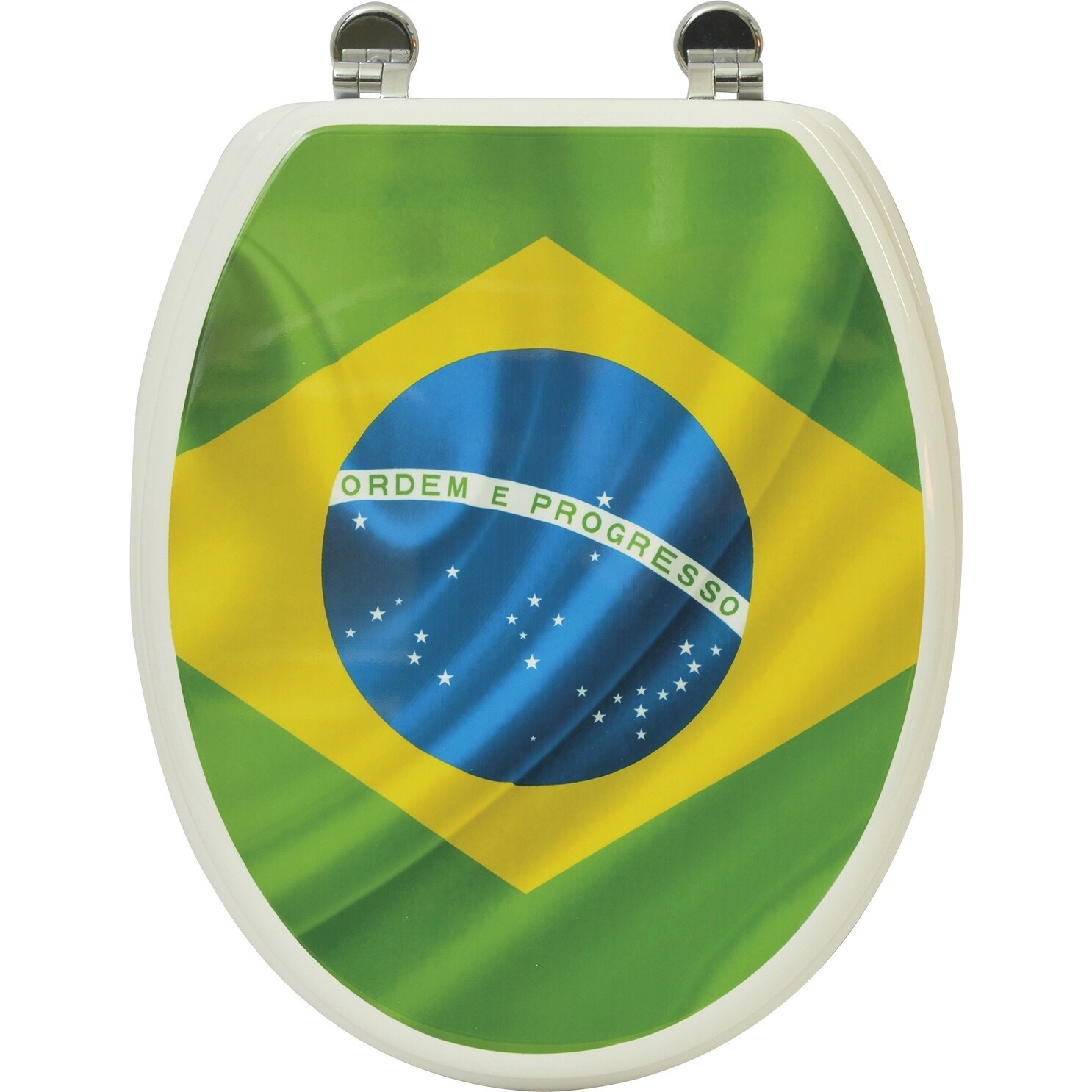 Evideco Toilet Seat Wood Design Brazil Flag Elongated - Free ...