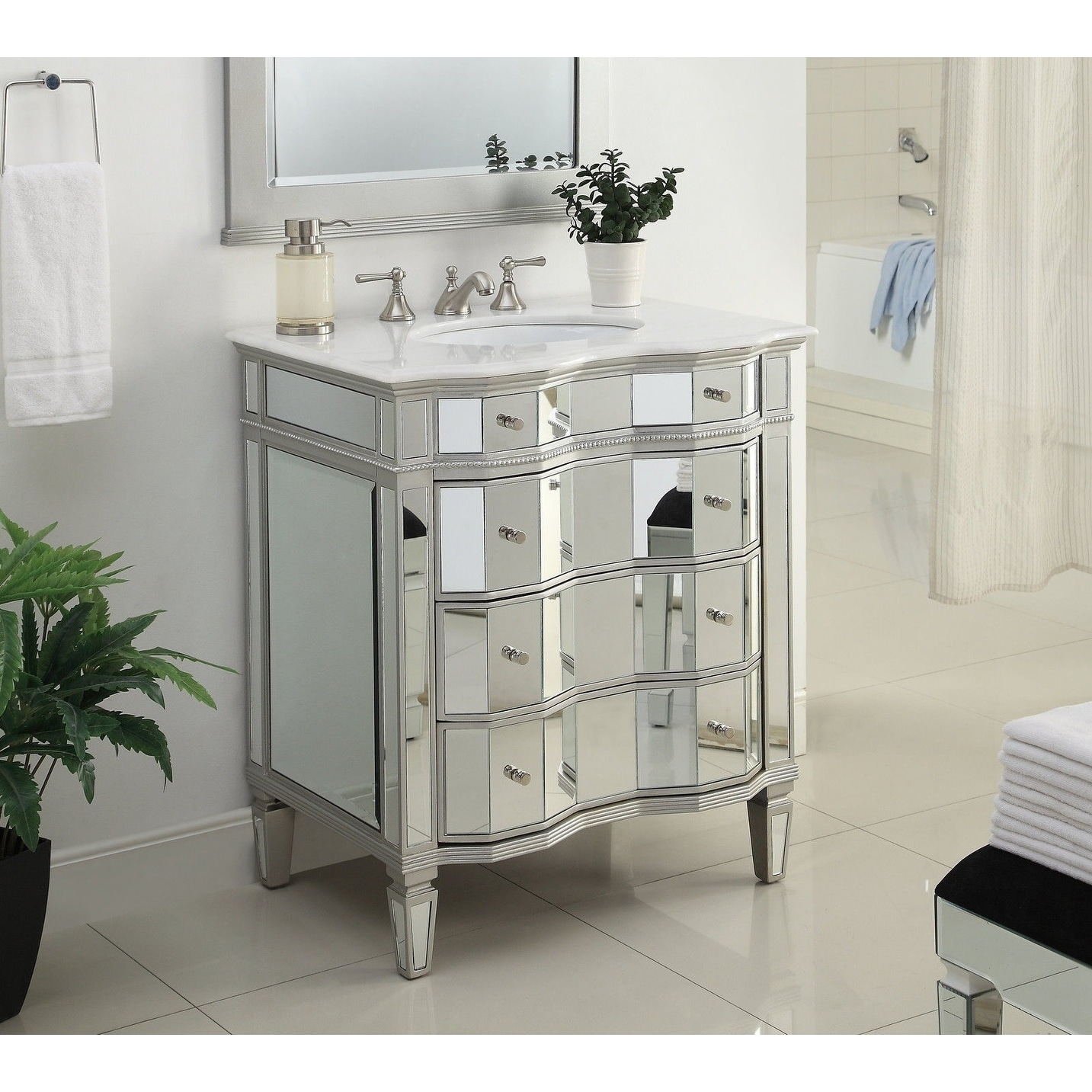 Shop Modetti Palazzo 30-inch Single Sink Bathroom Vanity with Marble Top - Free Shipping Today - Overstock.com - 17522553