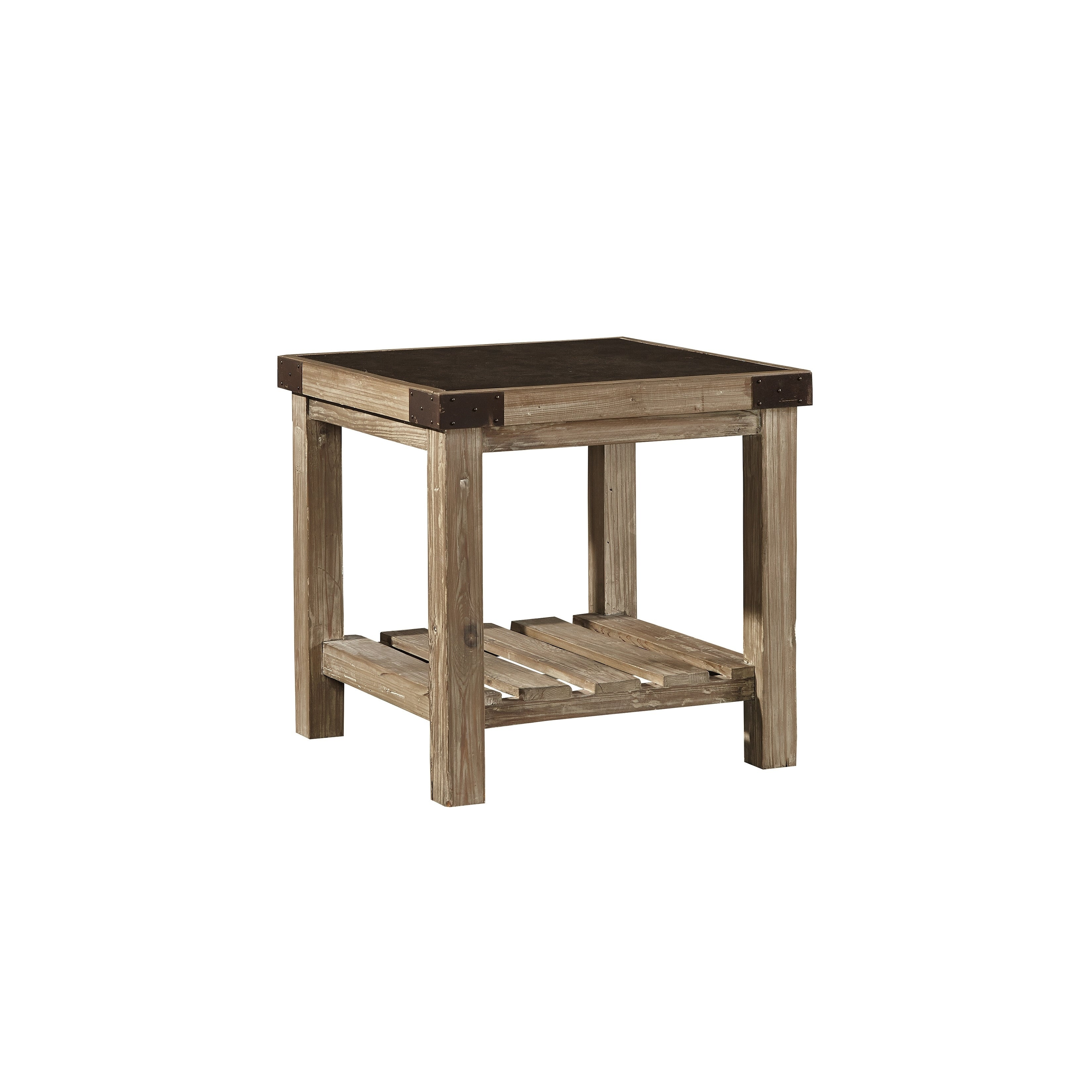 Shop anatolios wood side table with bluestone top free shipping today overstock com 17524183