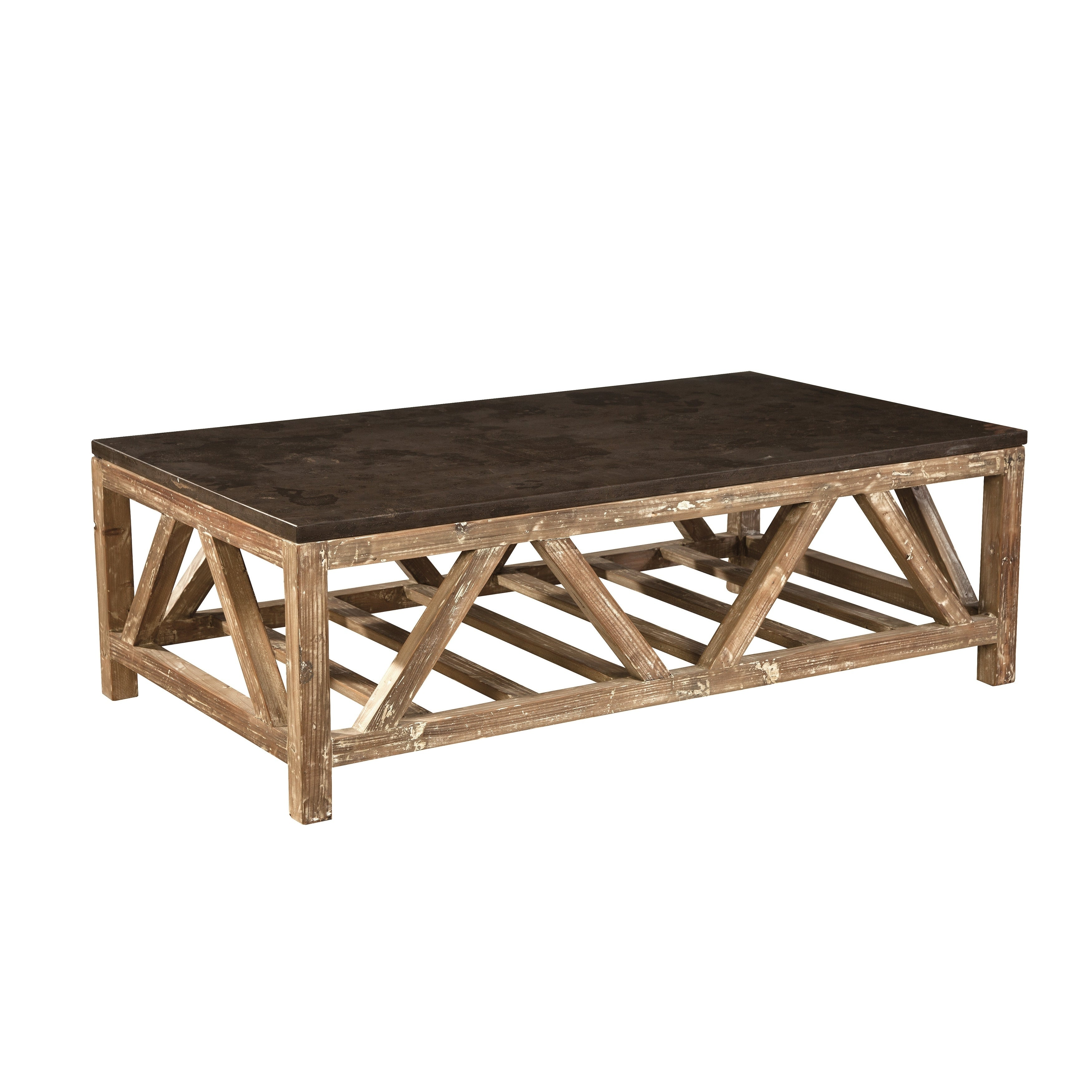 Shop cyprian reclaimed fir and bluestone coffee table free shipping today overstock com 17524208