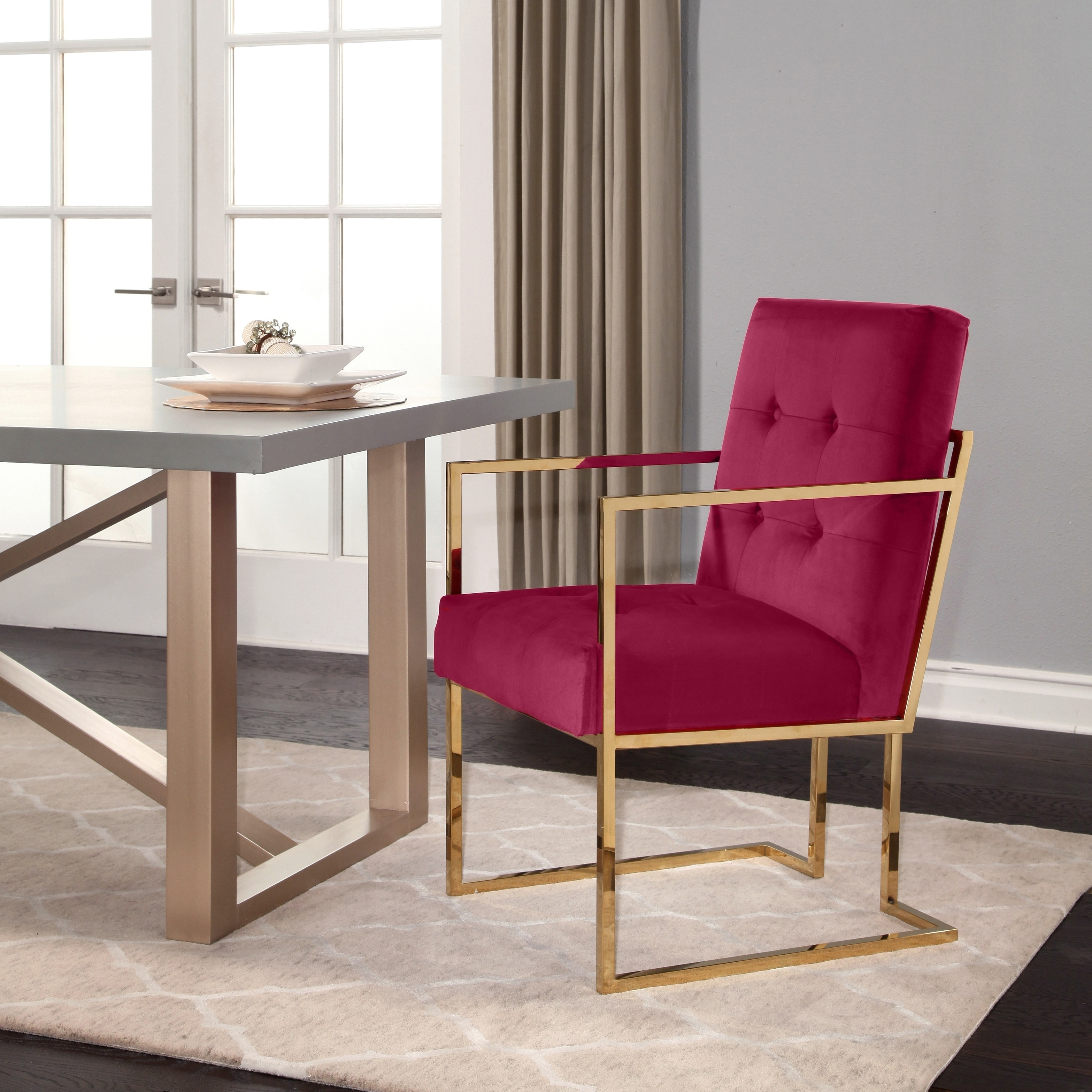 Abbyson Fraser Velvet Dining Armchair Chair  Free Shipping Today