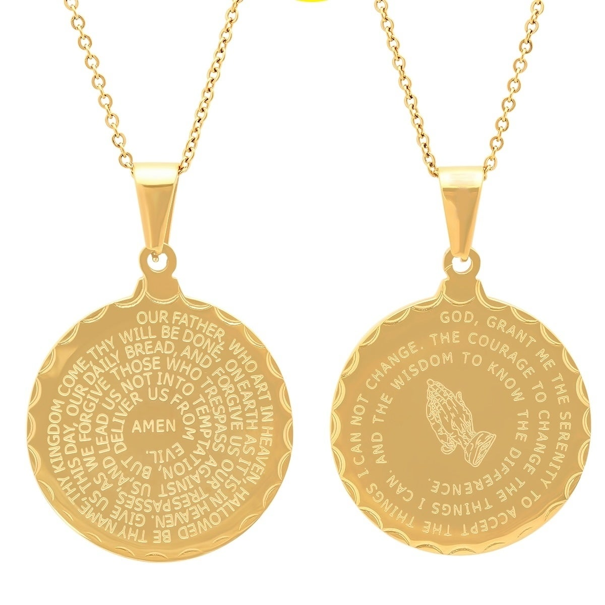 Shop piatella ladies double sided gold tone lords prayer and shop piatella ladies double sided gold tone lords prayer and serenity prayer pendant free shipping on orders over 45 overstock 17568155 aloadofball Images