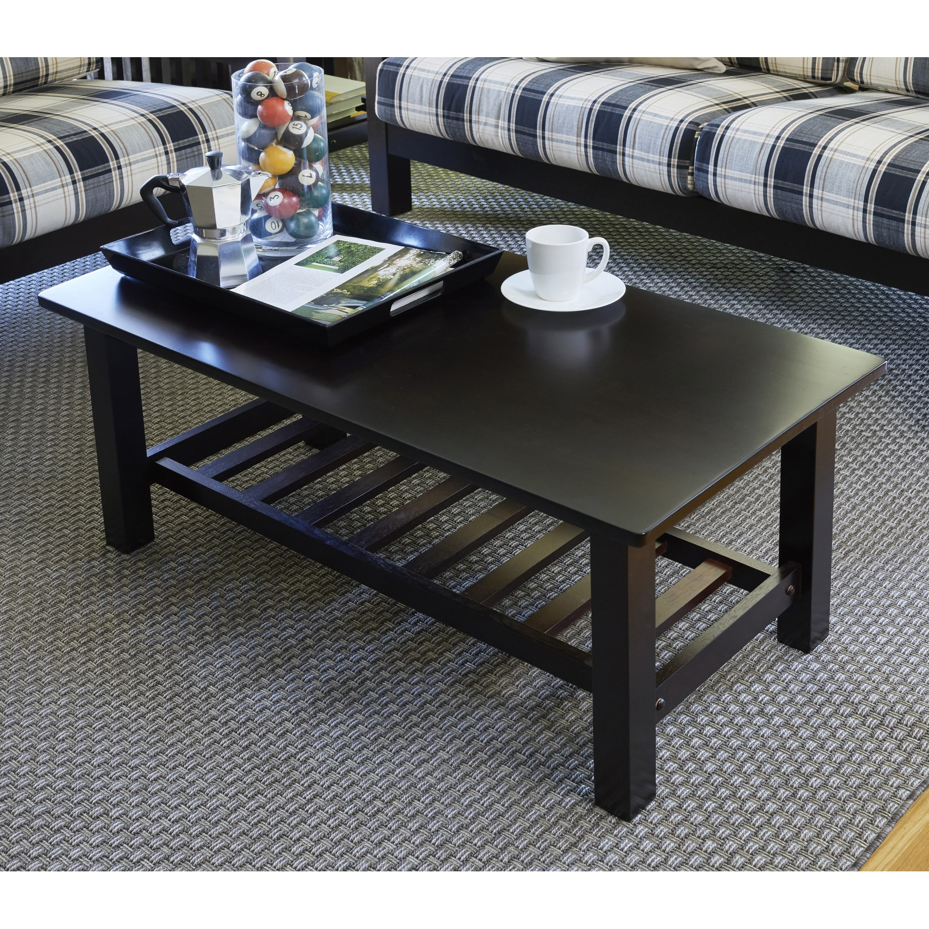 Handy Living Baltimore Espresso Brown Wood Coffee Table With Slatted Shelf On Free Shipping Today 17568946