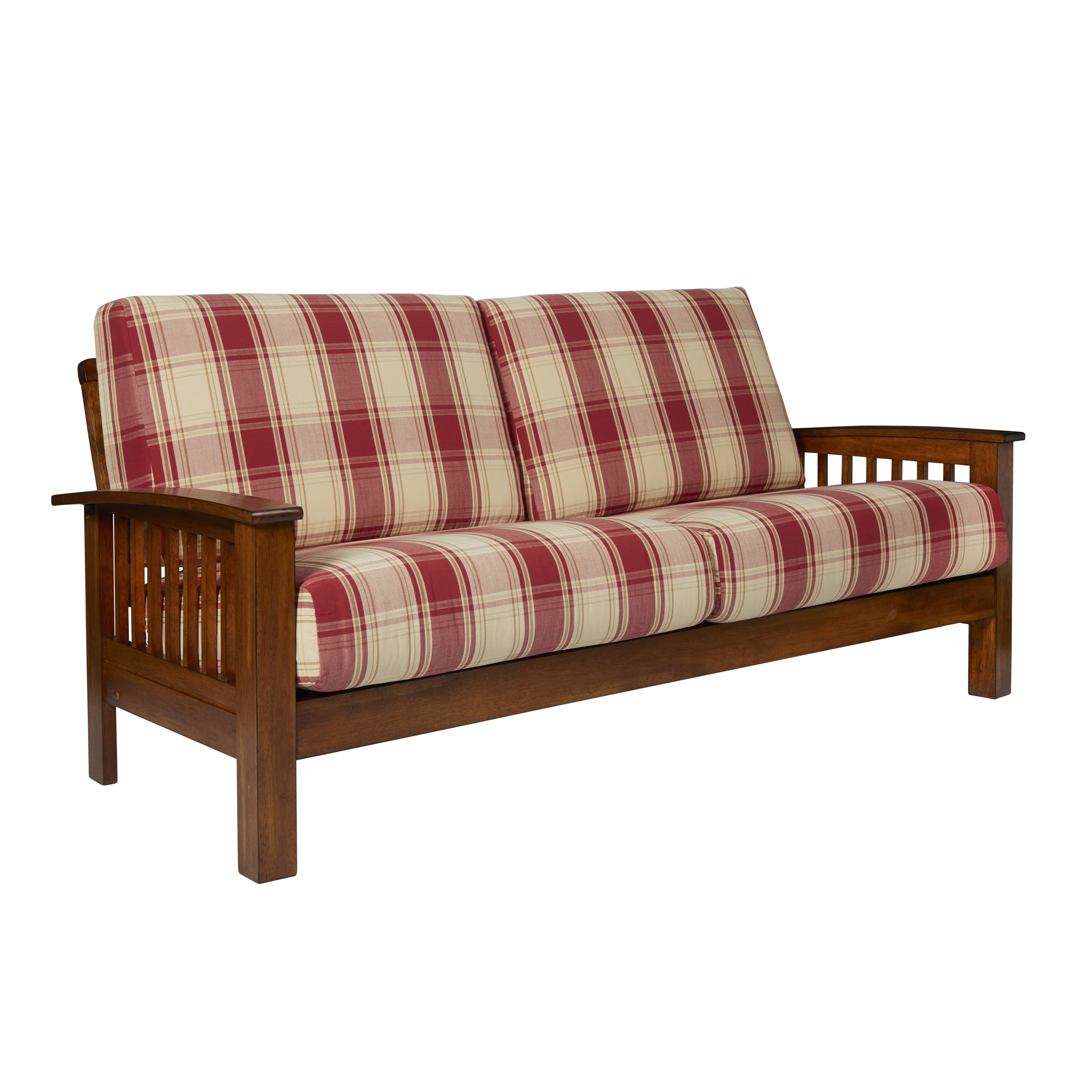 Shop Handy Living Omaha Red Plaid Mission Style Sofa with Exposed ...