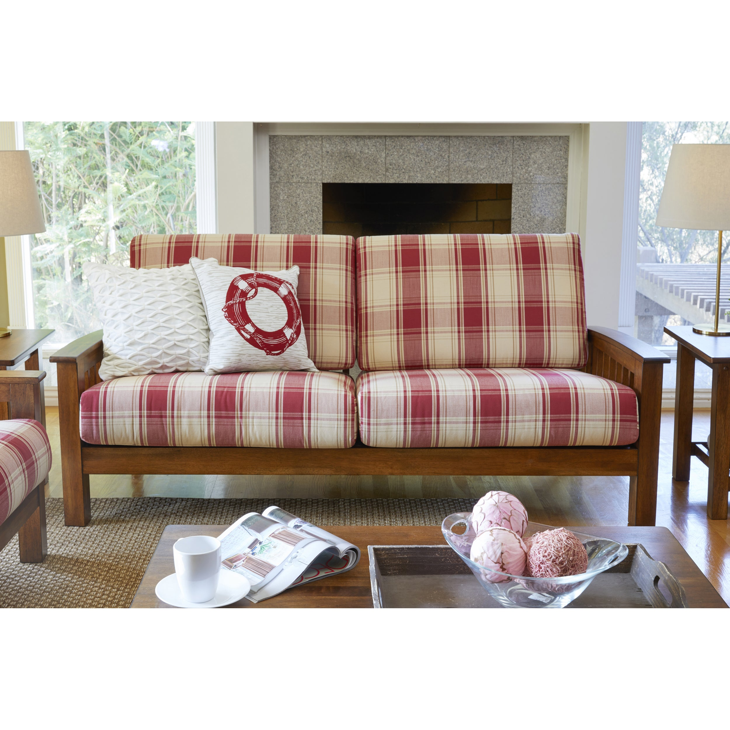 Shop Handy Living Omaha Red Plaid Mission Style Sofa with Exposed