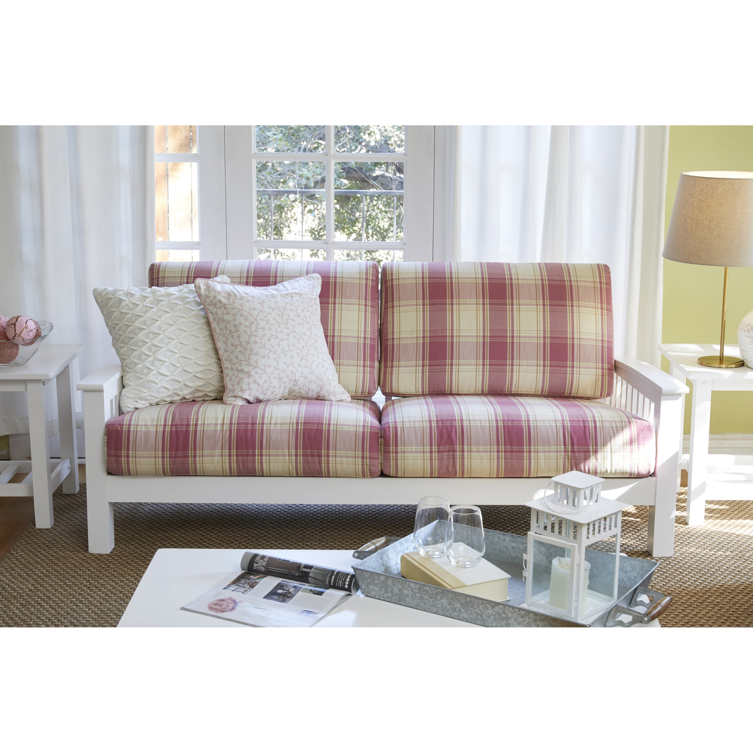 Shop Handy Living Omaha Pink Plaid Mission Style Sofa with Exposed ...