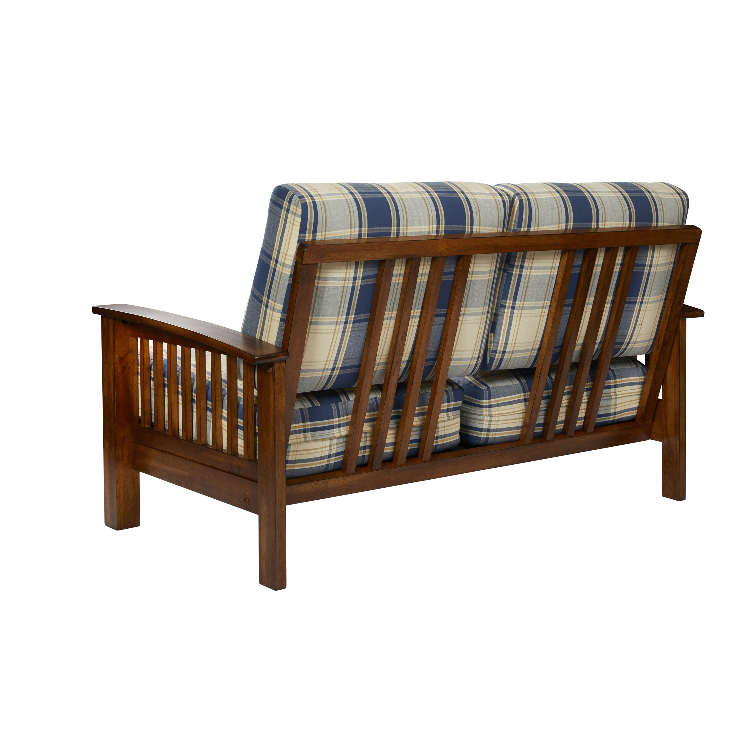 Handy Living Omaha Blue Plaid Mission Style Loveseat with Exposed ...