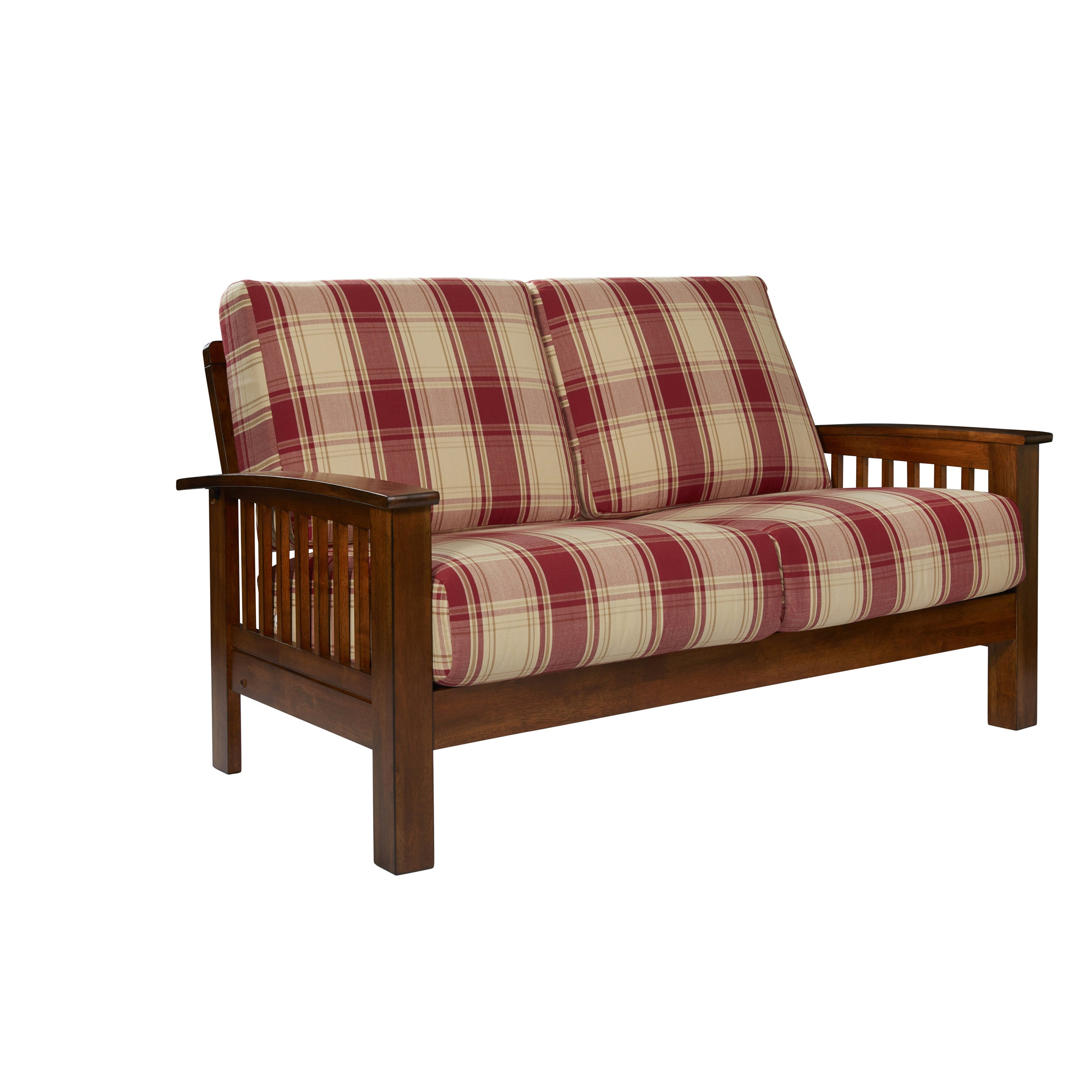 handy living omaha red plaid mission style loveseat with exposed wood frame free shipping today overstockcom 23791451 - Wood Frame Loveseat