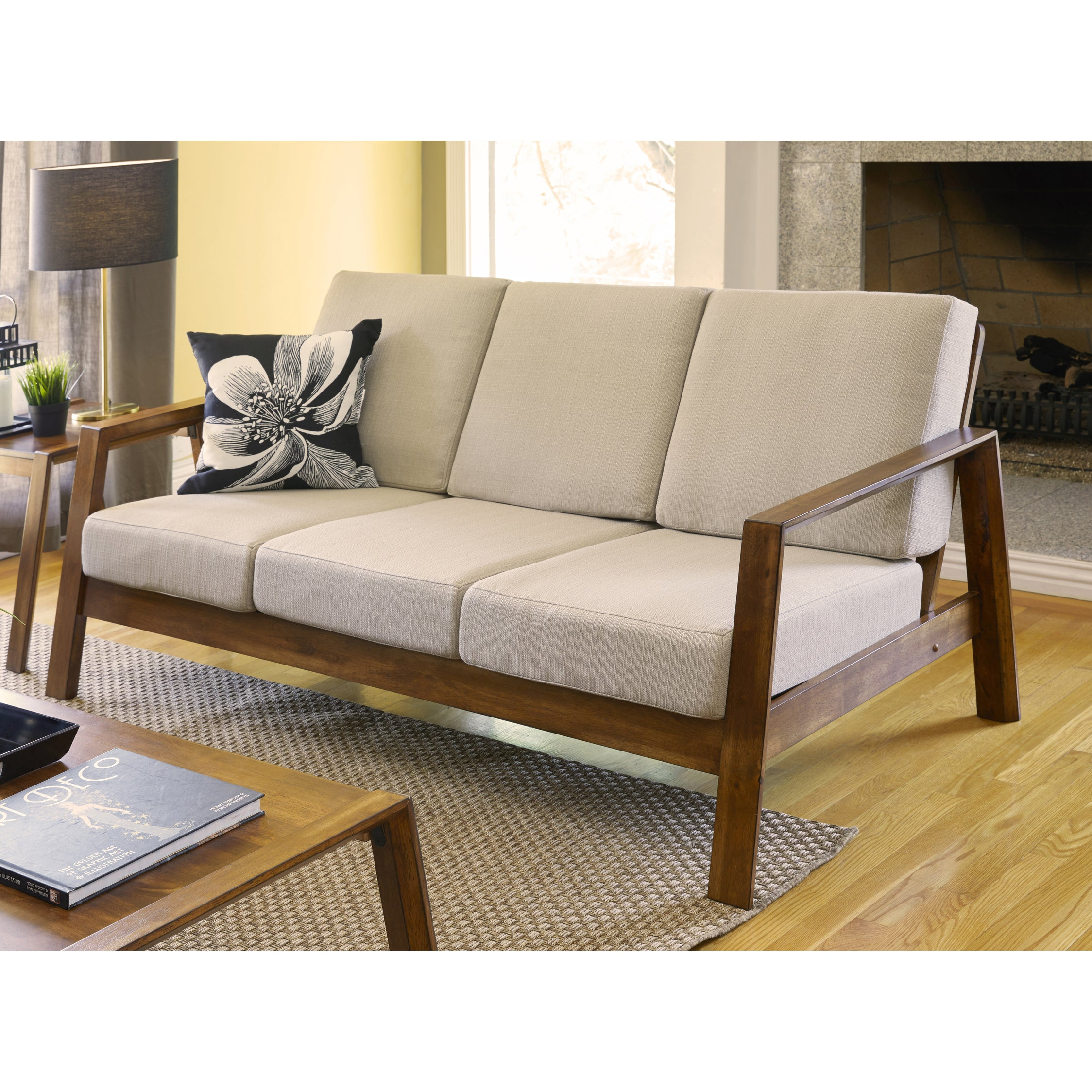 Carson Carrington Horuphav Mid-century Modern Barley Tan Linen Sofa with  Exposed Wood Frame