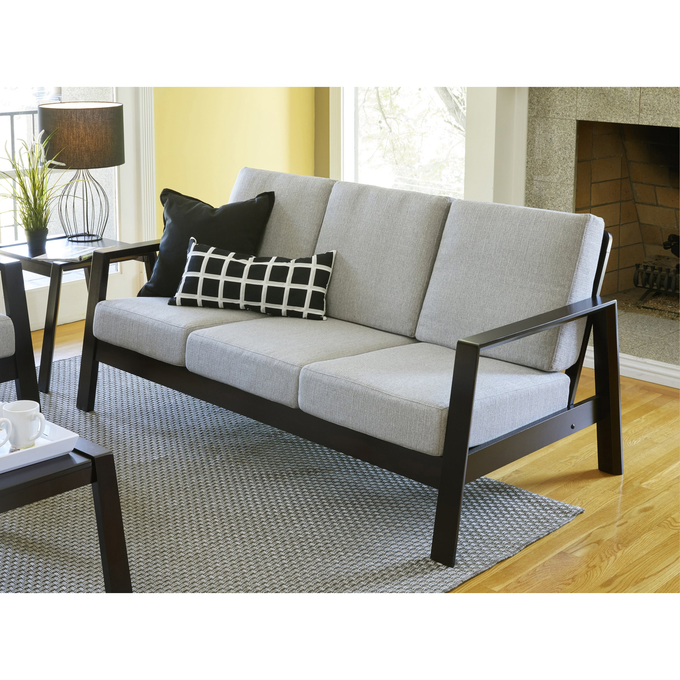 Handy living columbus mid century modern dove grey linen sofa with exposed wood frame