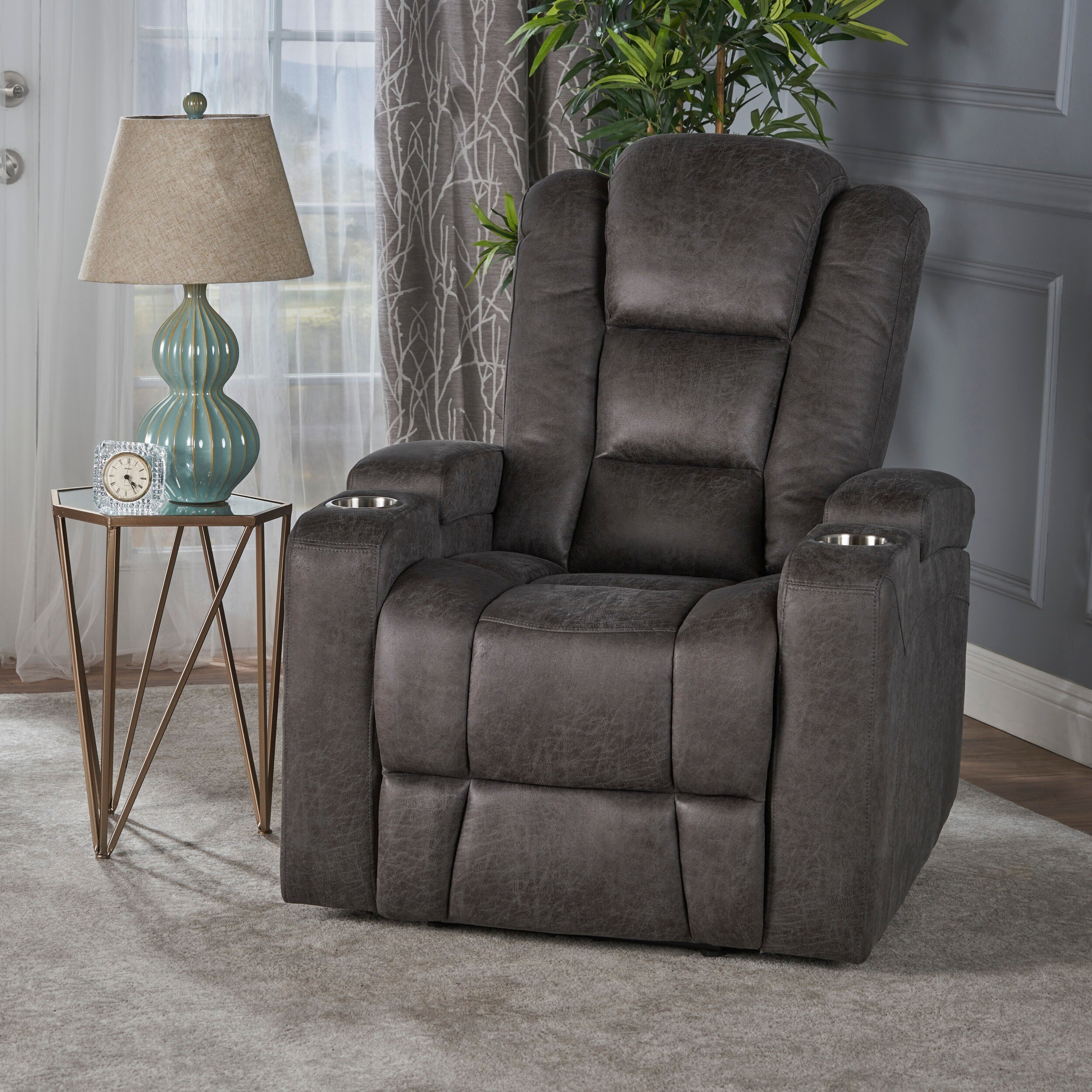 Superbe Shop Emersyn Microfiber Power Recliner With Arm Storage U0026 USB Cord By  Christopher Knight Home   Free Shipping Today   Overstock.com   17570832