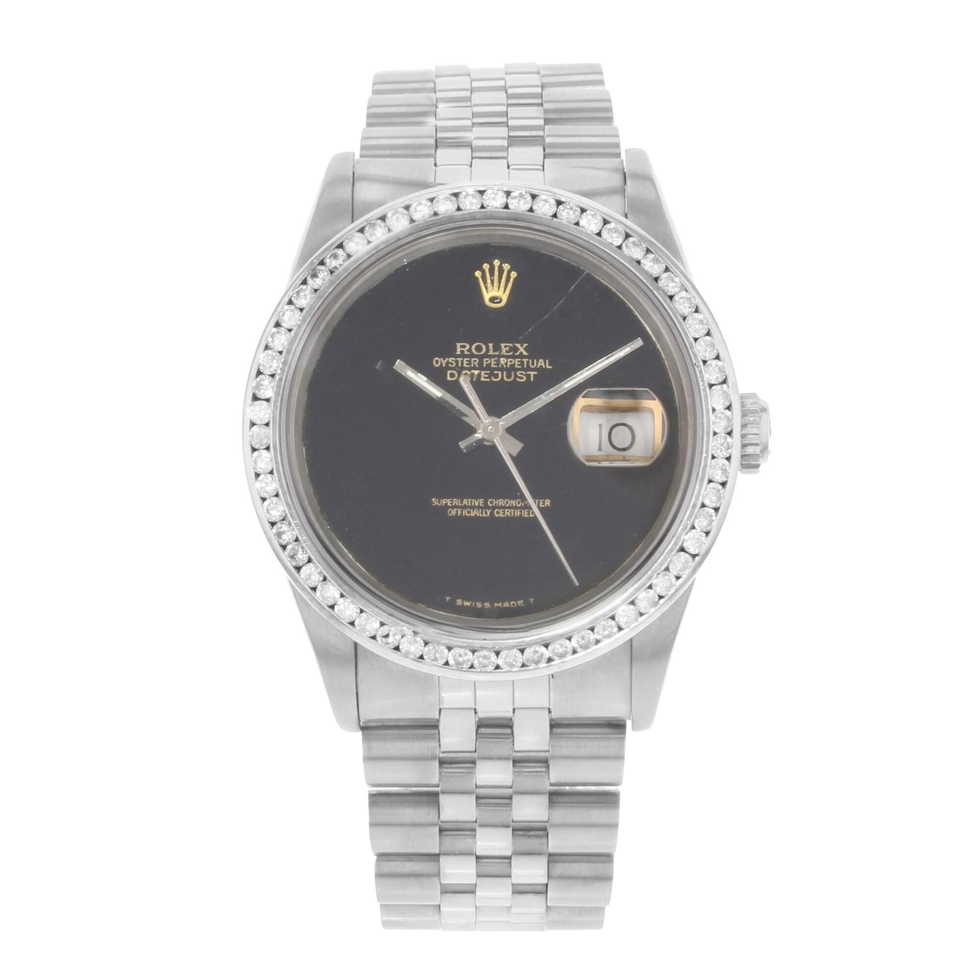 8b001969d7c45 Shop Rolex Datejust 16220 Custom Diamond Bezel Steel Automatic Men's ...