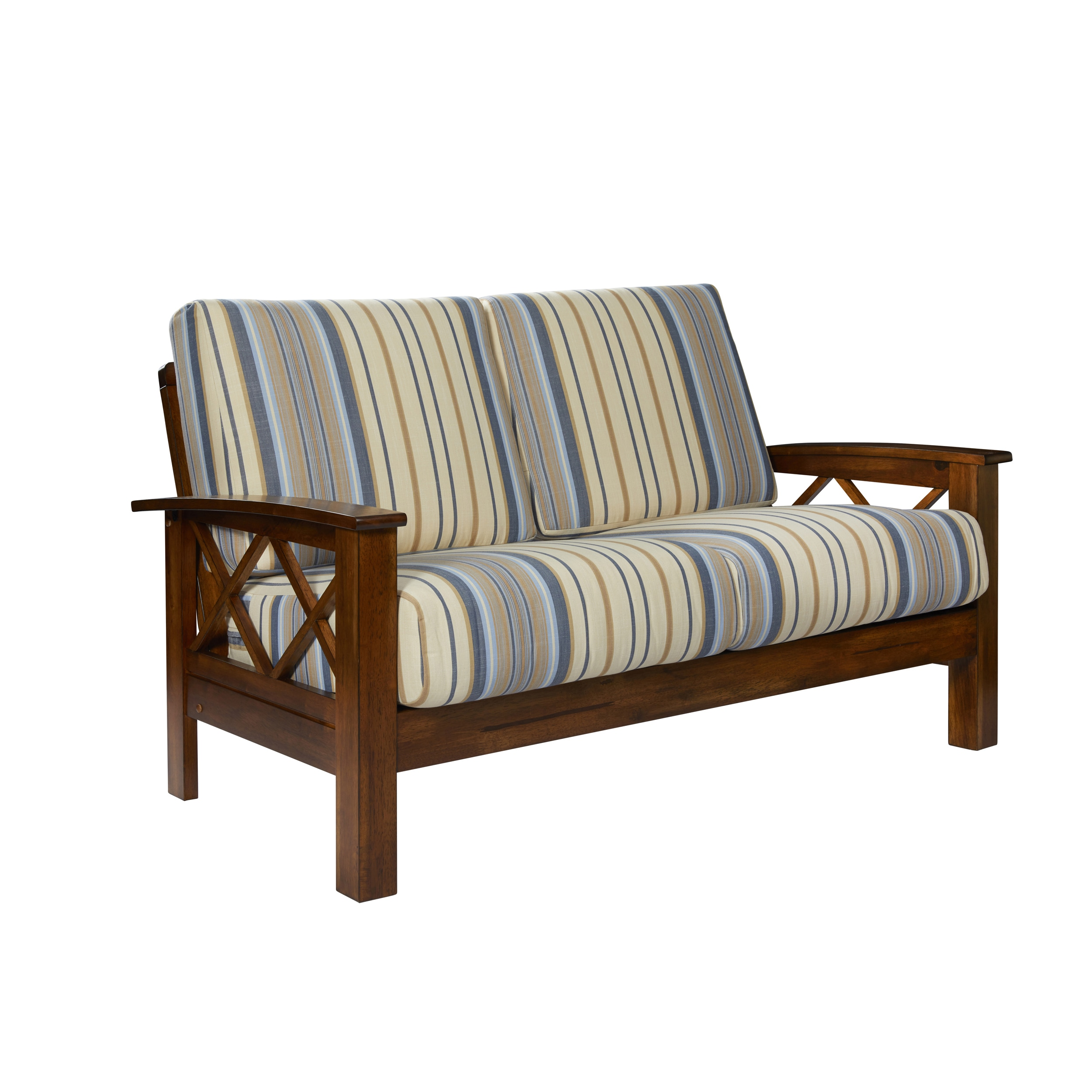 used loveseat second with love sofas tan seat wood hand frame off coupon