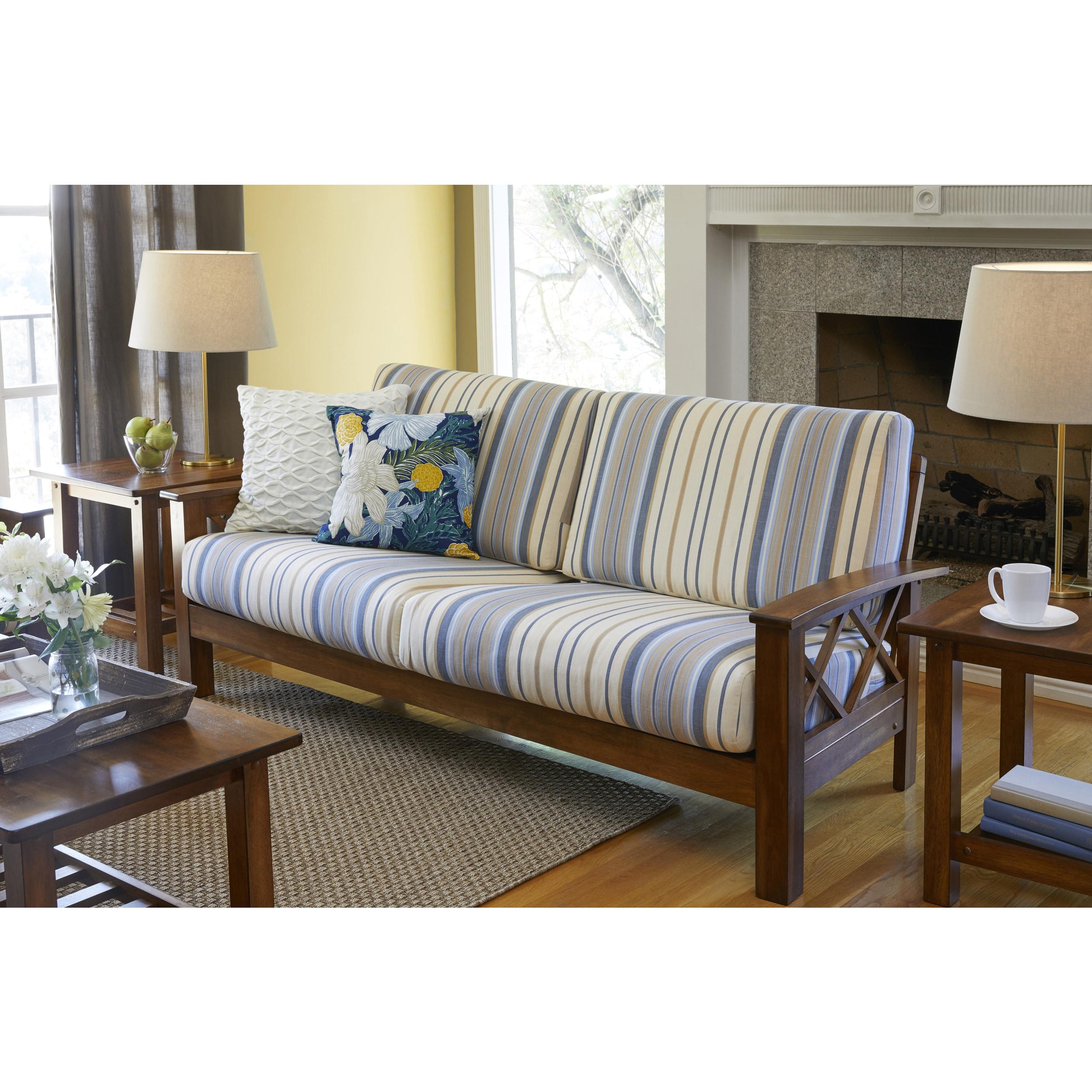 Handy Living Virginia Blue Stripe X Design Sofa with Exposed Wood ...