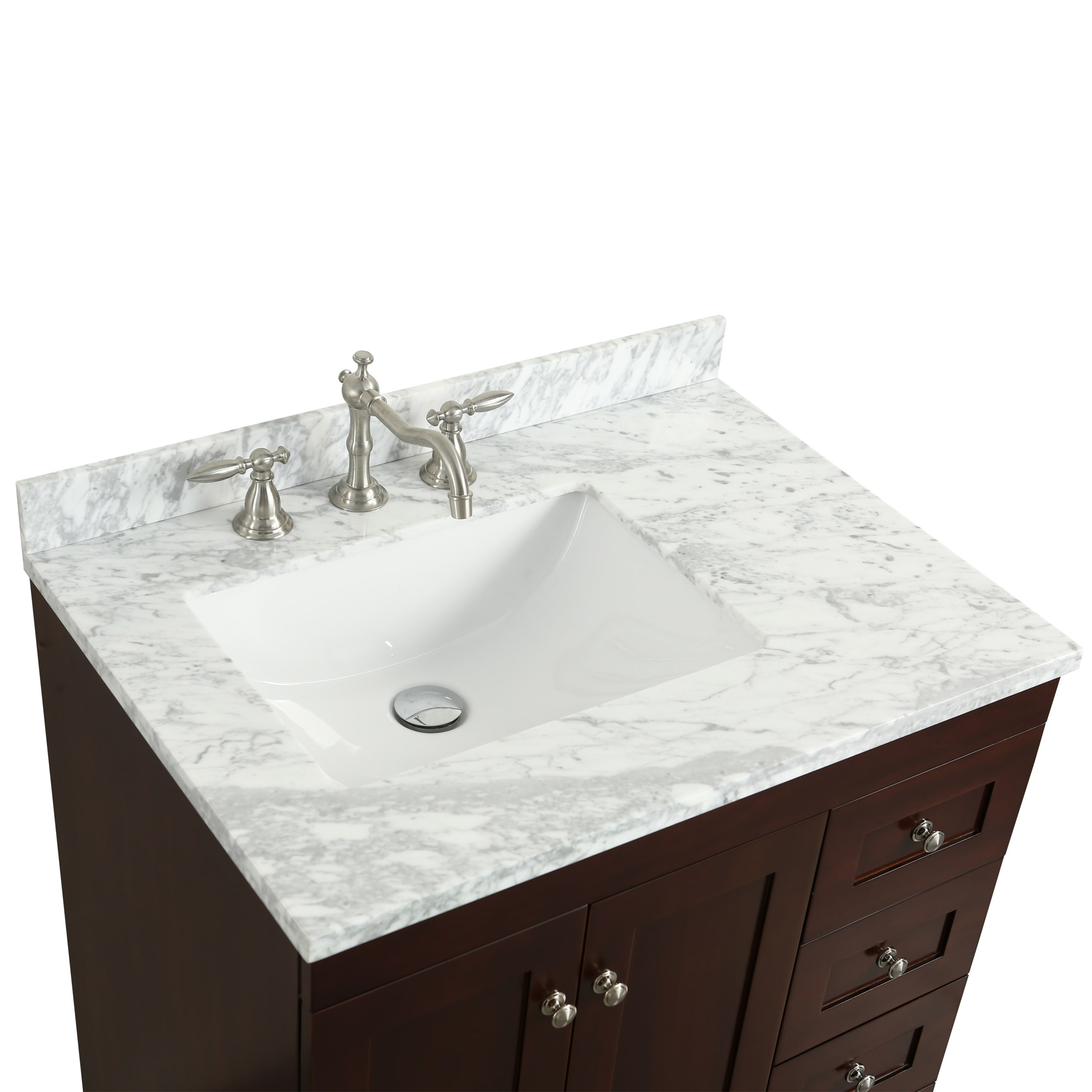 eviva Acclaim C. Teak with White Cararra Marble Countertop 30-inch ...