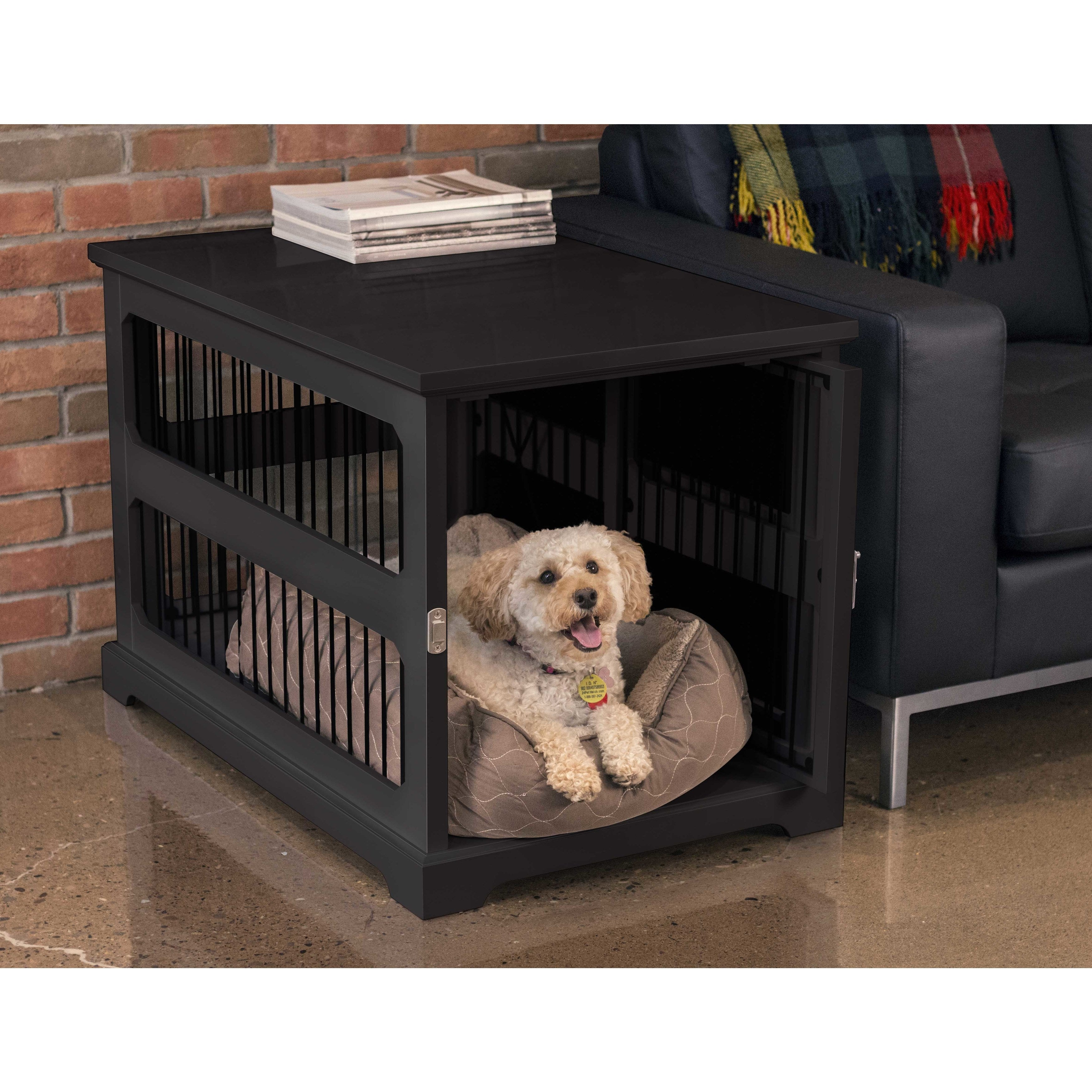 Shop Merry Product Black Wood Slide Aside Dog Crate And Kennel End Table    Free Shipping Today   Overstock.com   17610817