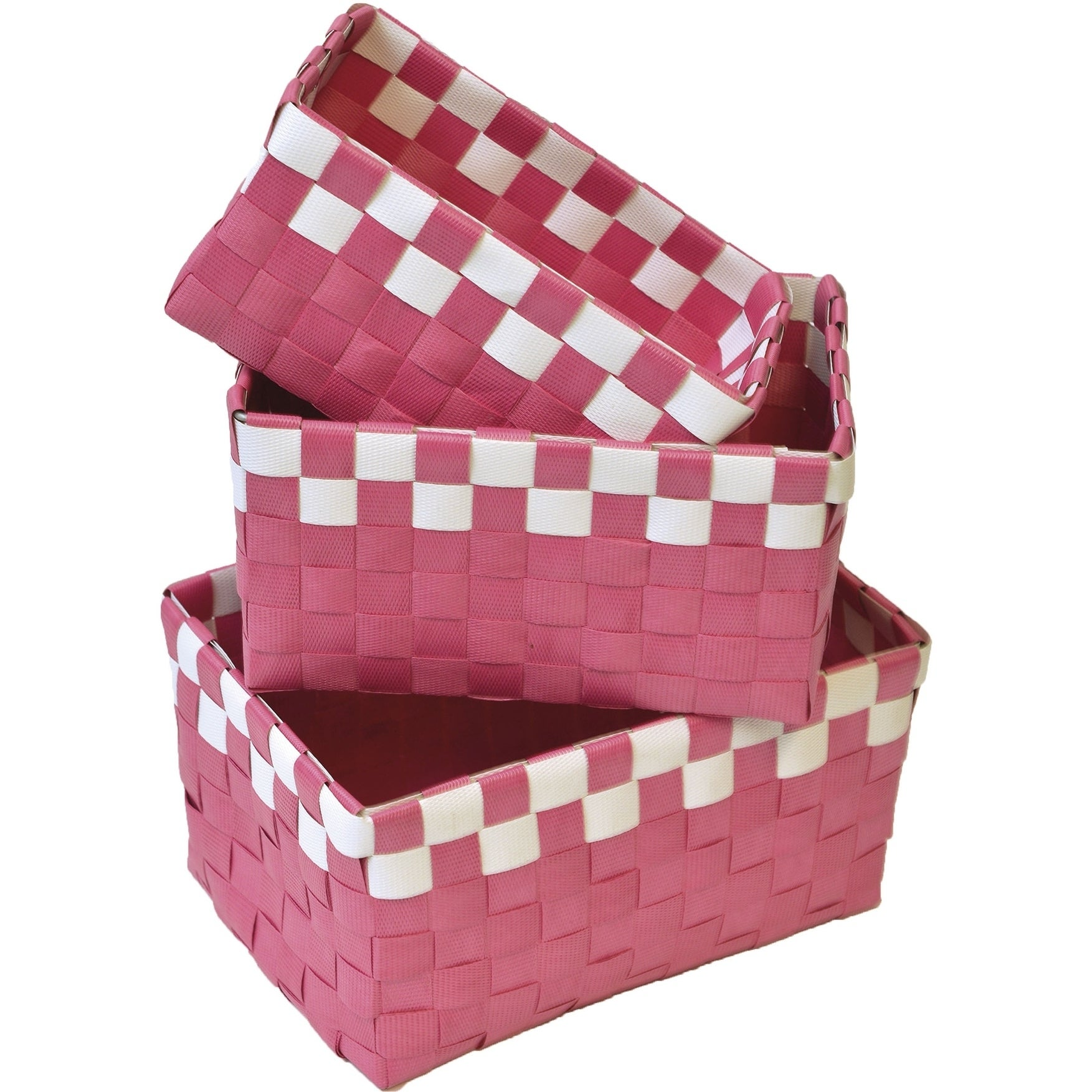 Shop Checkered Woven Strap Storage Baskets Totes Set of 3 - Free ...