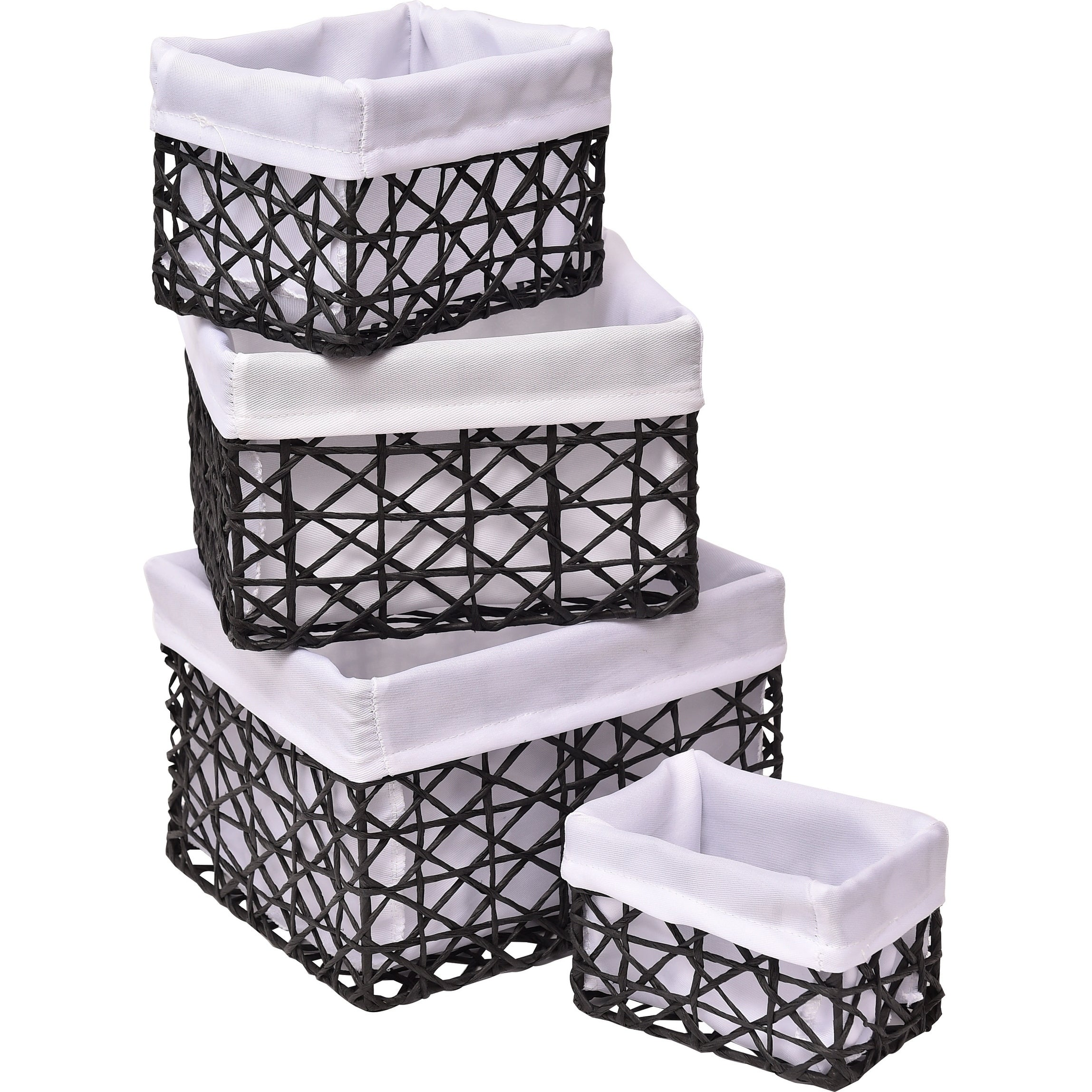 Evideco Paper Rope Storage Utilities Shelf Baskets Set Of 4   Free Shipping  Today   Overstock   23828081