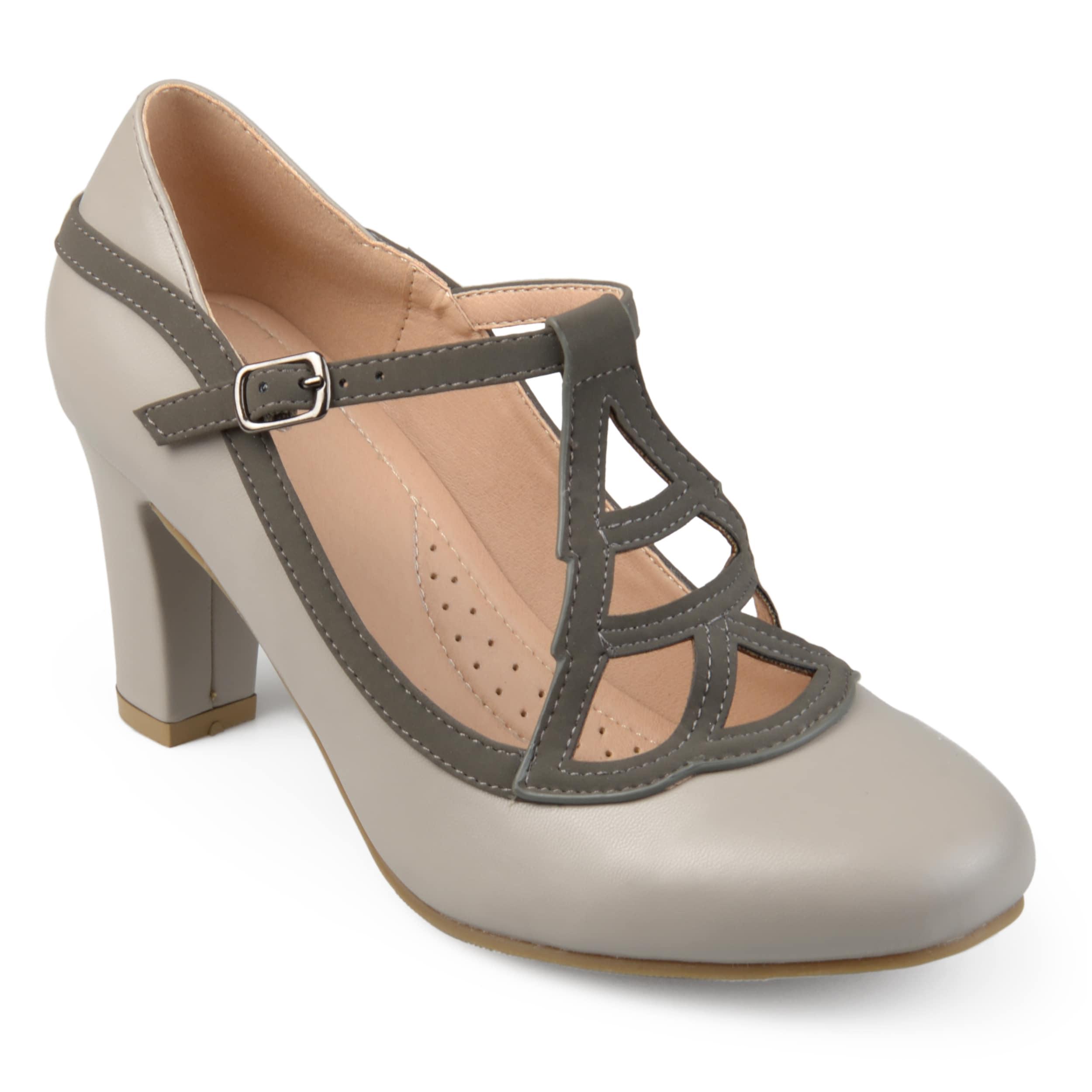 dea7f0d6edf Journee Collection Women s  Nile  Round-toe Vintage Comfort-sole Two-tone  Lattice Mary Jane Pumps