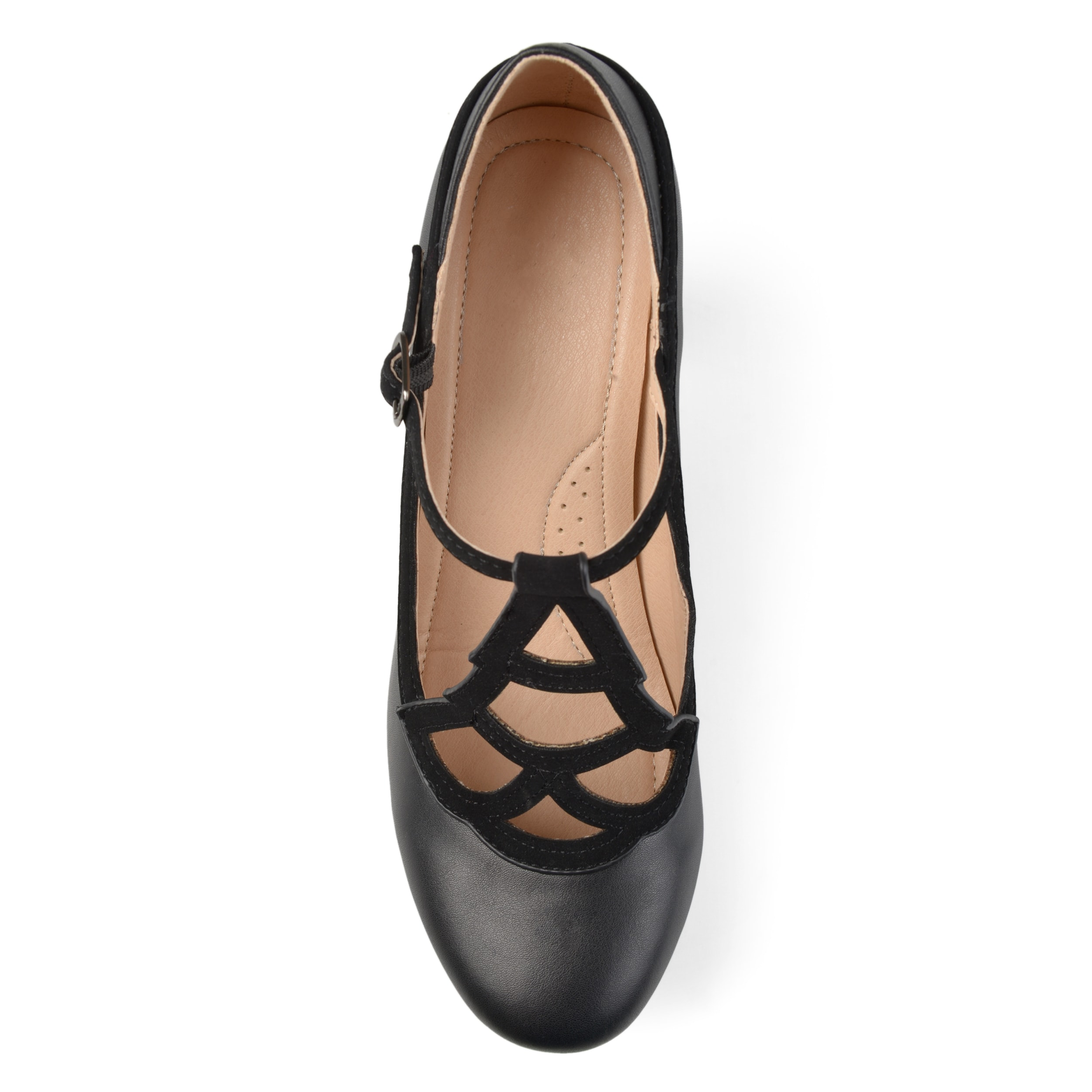 cde774bc3 Shop Journee Collection Women's 'Nile' Round-toe Vintage Comfort-sole Two- tone Lattice Mary Jane Pumps - Free Shipping On Orders Over $45 - Overstock  - ...