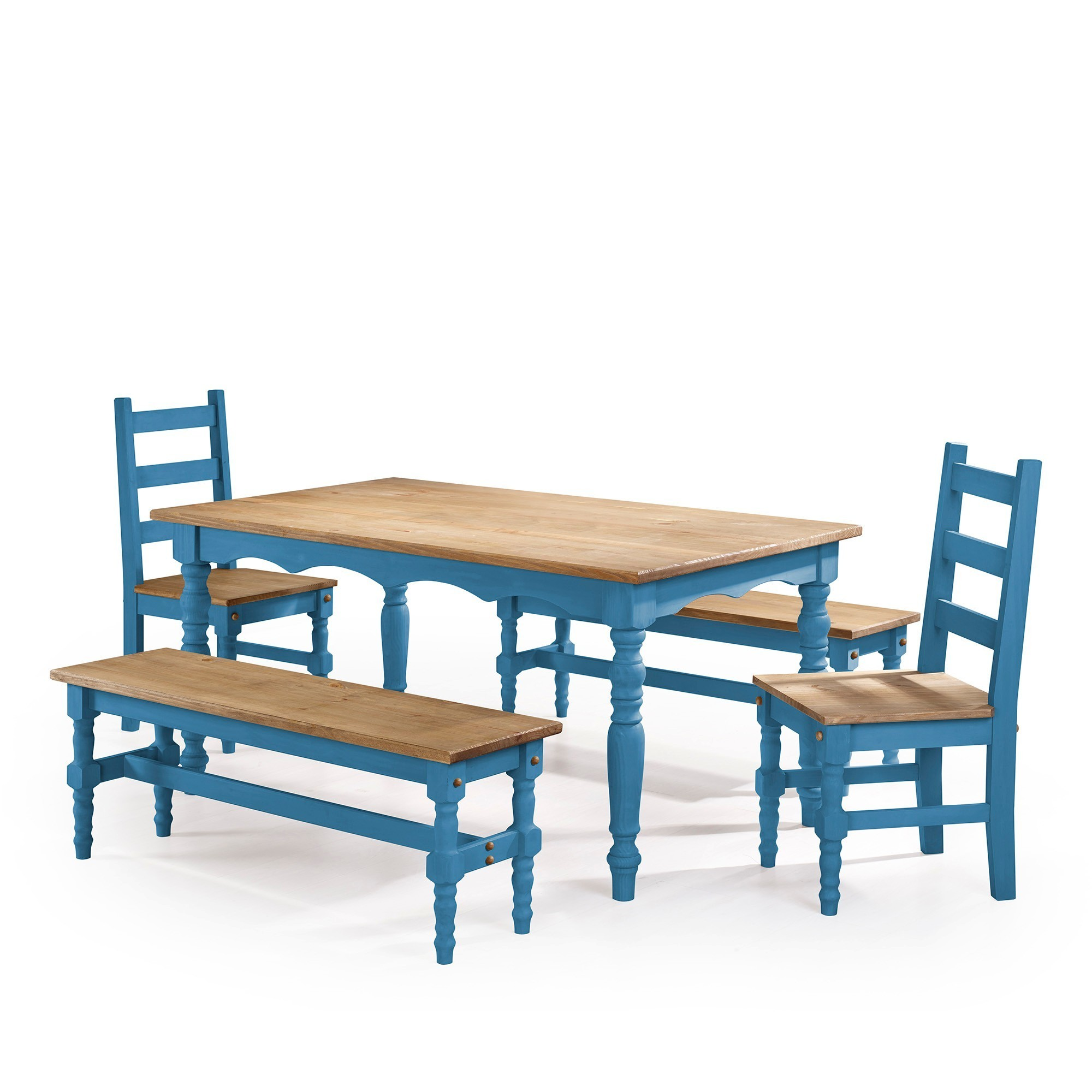 Manhattan Comfort Jay 5-Piece Solid Wood Dining Set with 2 Benches ...