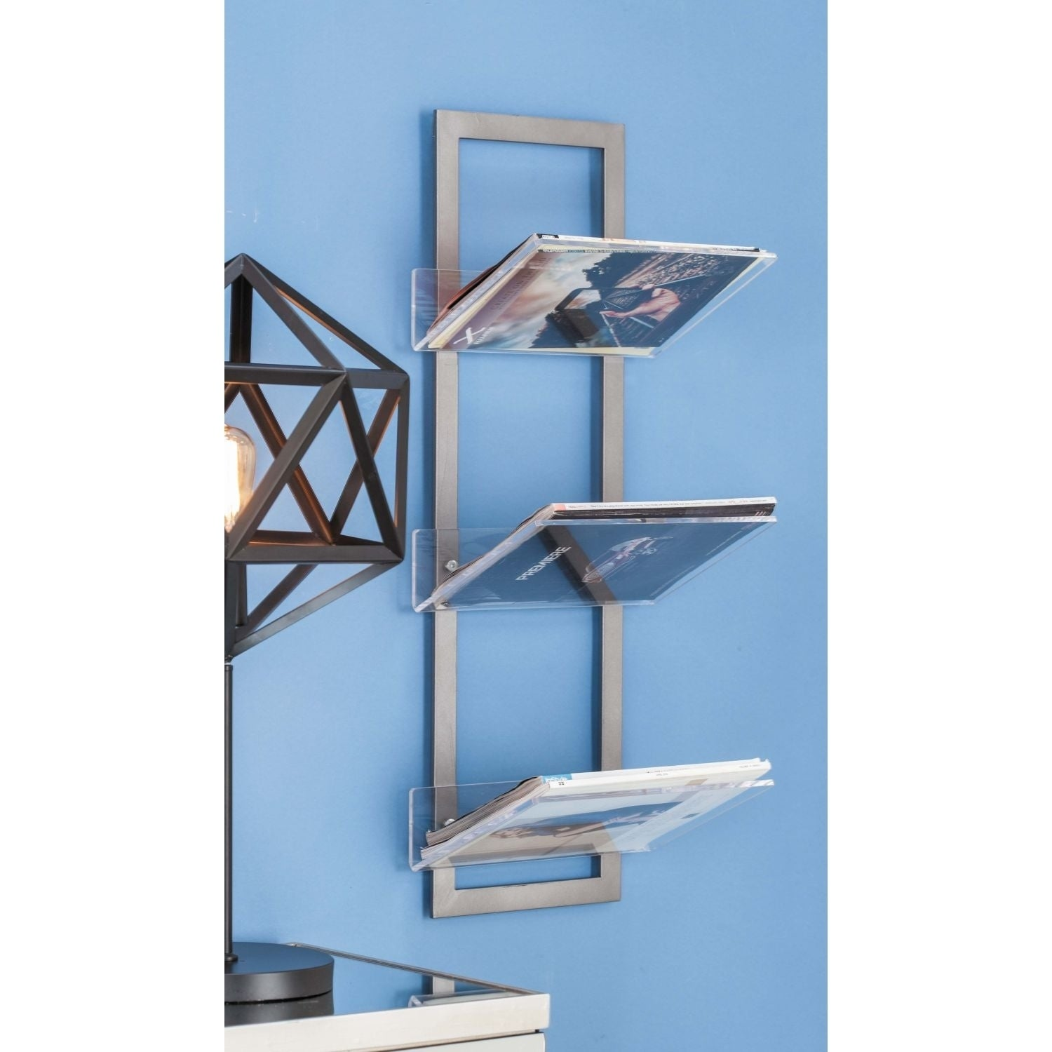 Shop Contemporary 32 x 12 Inch Metal and Acrylic Wall Shelf by ...