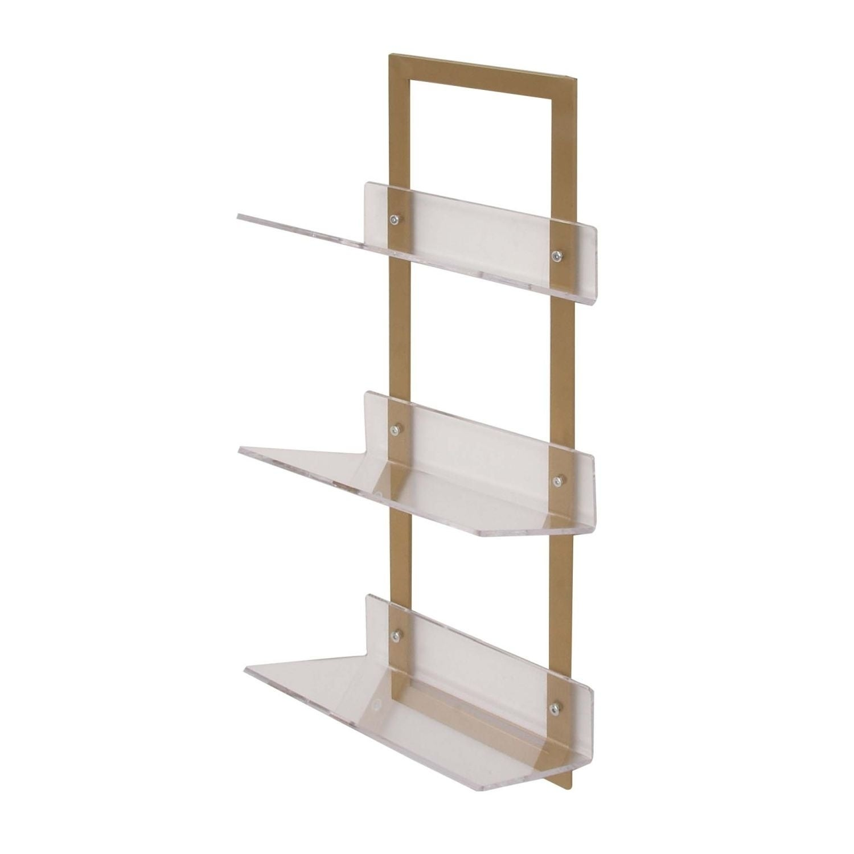 Studio 350 Metal Acrylic Wall Shelf 12 Inches Wide 32 High Free Shipping Today 17618821