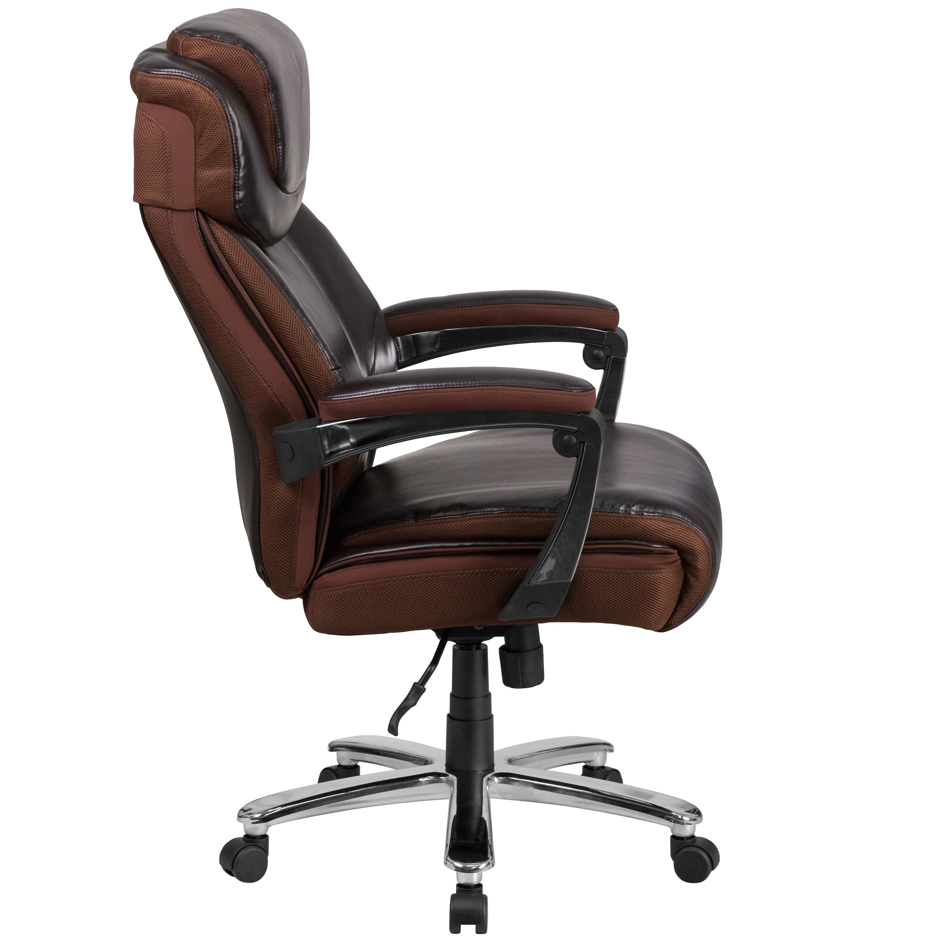 Executive And Tall Brown Leather Adjule Swivel Office Chair With Headrest Free Shipping Today 17619009