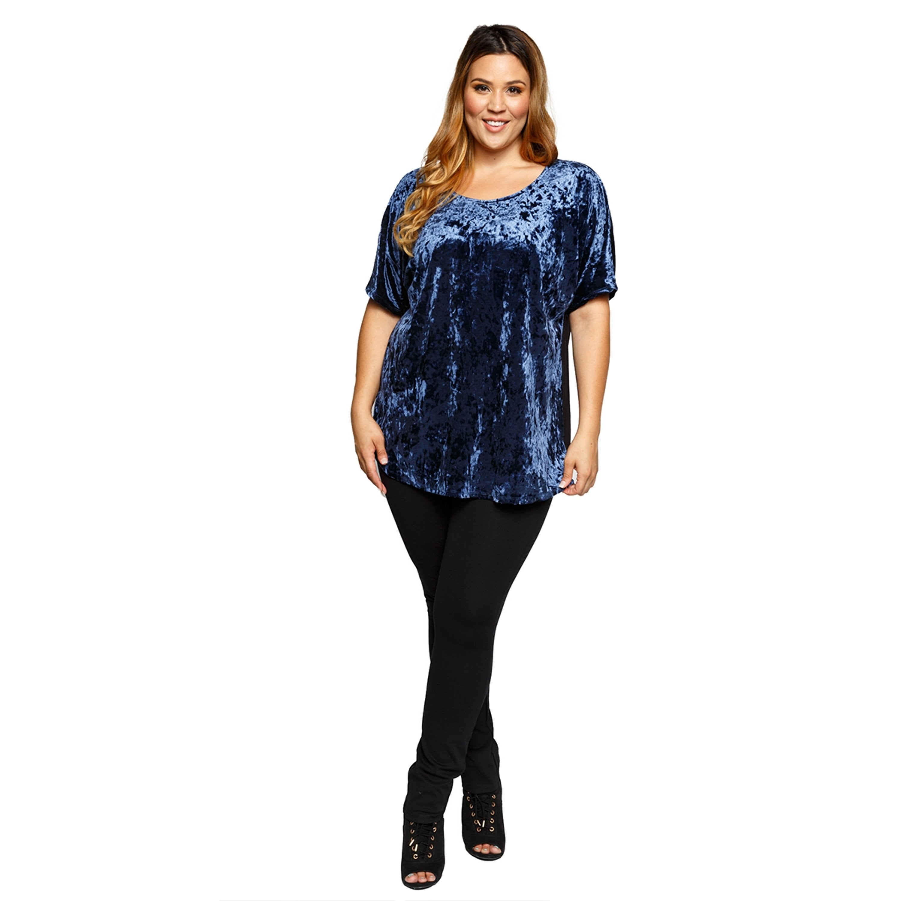 80898294111 Shop Xehar Womens Plus Size Stylish Smooth Crushed Velvet Tunic Blouse Top  - Free Shipping On Orders Over  45 - Overstock - 17619457