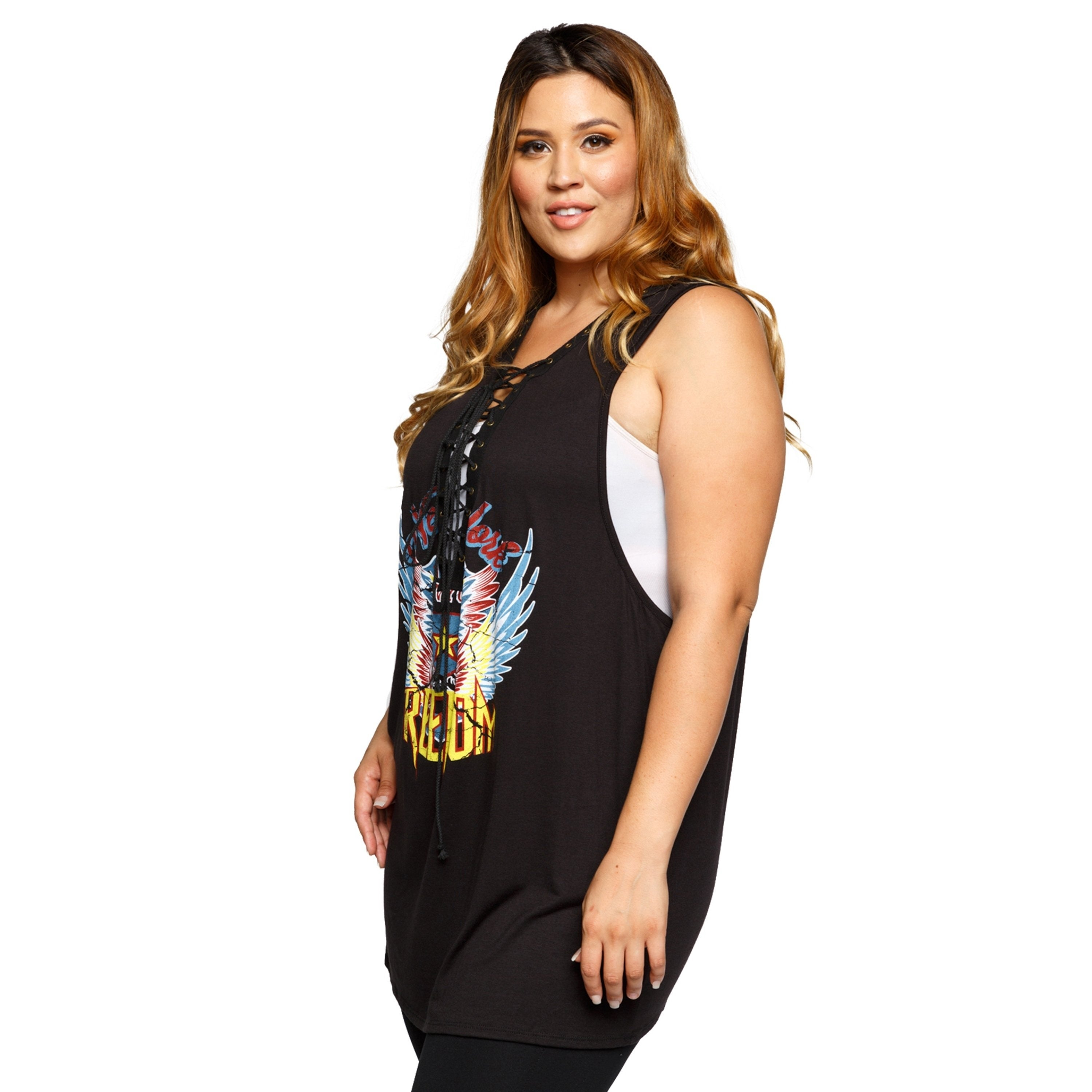 244a98e953d Shop Xehar Womens Plus Size Sleeveless NYC Freedom Graphic Print Tank Top -  Free Shipping On Orders Over  45 - Overstock.com - 17619588