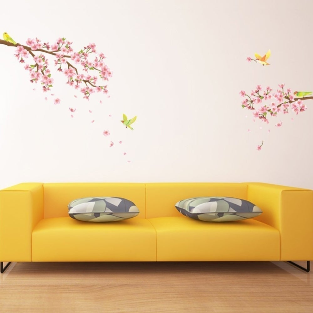 Shop Cherry Blossoms & Birds Peel and Stick Nursery Kids Wall Decals ...
