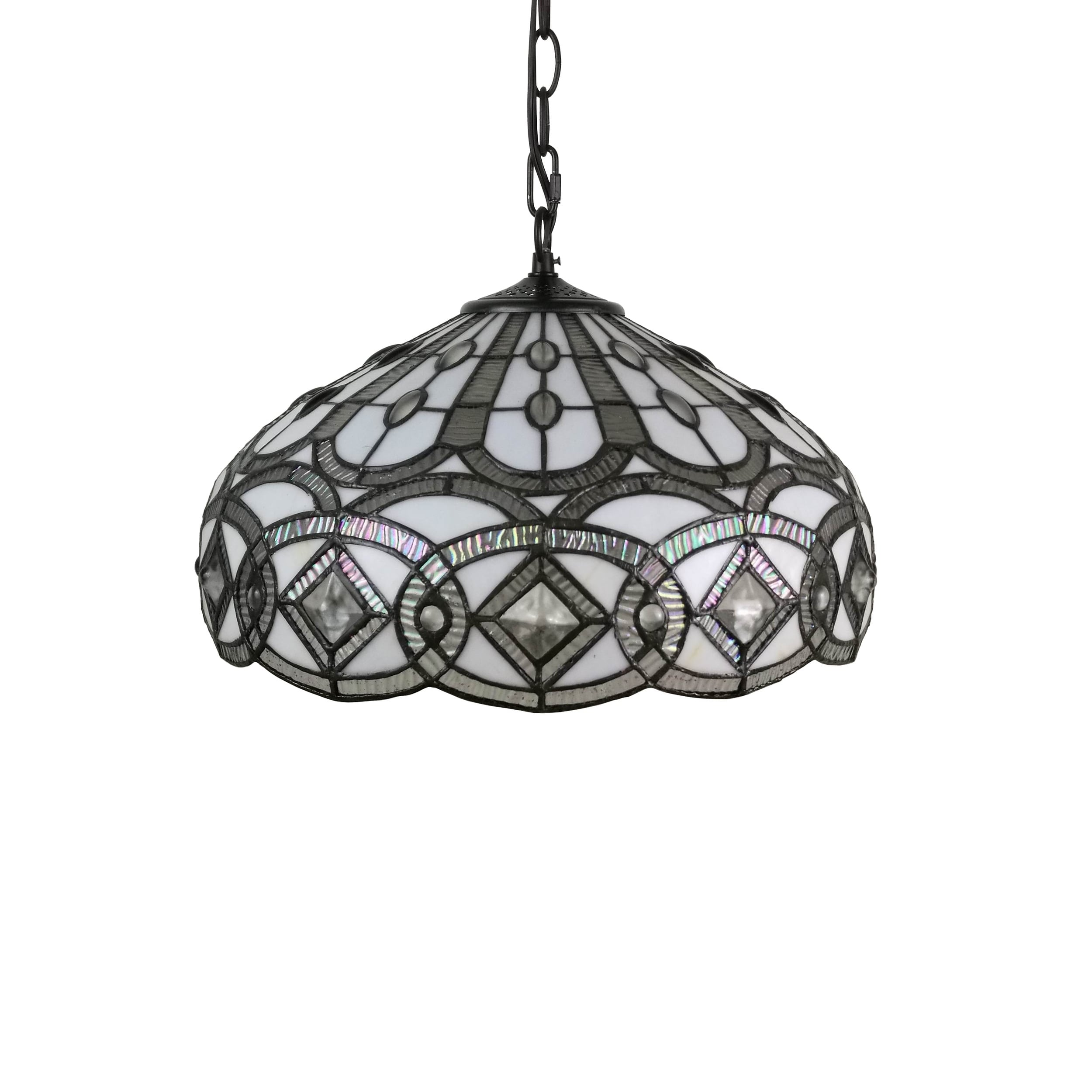 Shop Amora Lighting Am295hl16 Tiffany Style White Hanging Lamp 16 Inches Wide On Sale Free Shipping Today 17624667