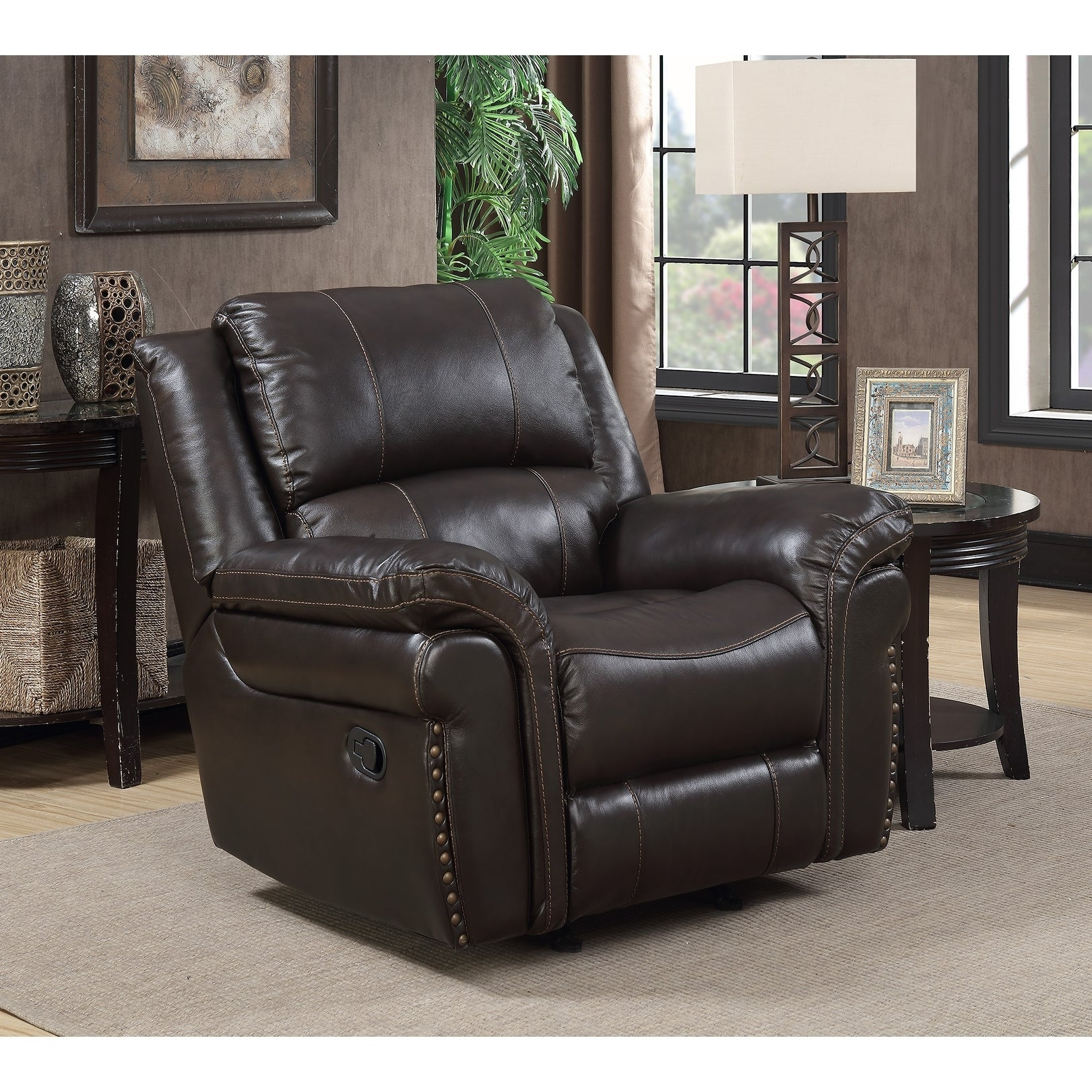 Shop landon chocolate brown leather touch rocker recliner with memory foam seat topper free shipping today overstock com 17624895