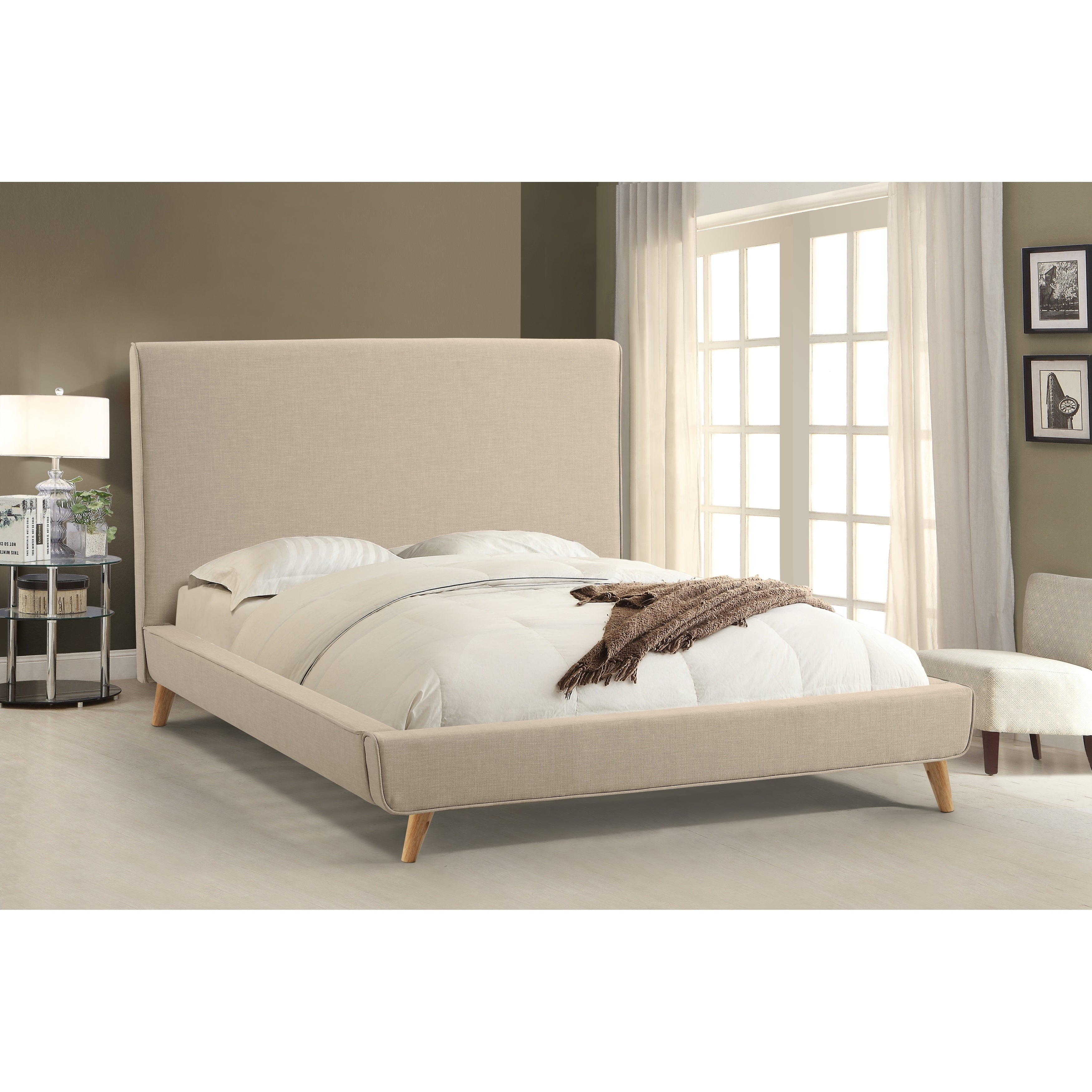 Abbyson Bartlett Ivory Mid Century Upholstered Platform Bed On Free Shipping Today 17626043