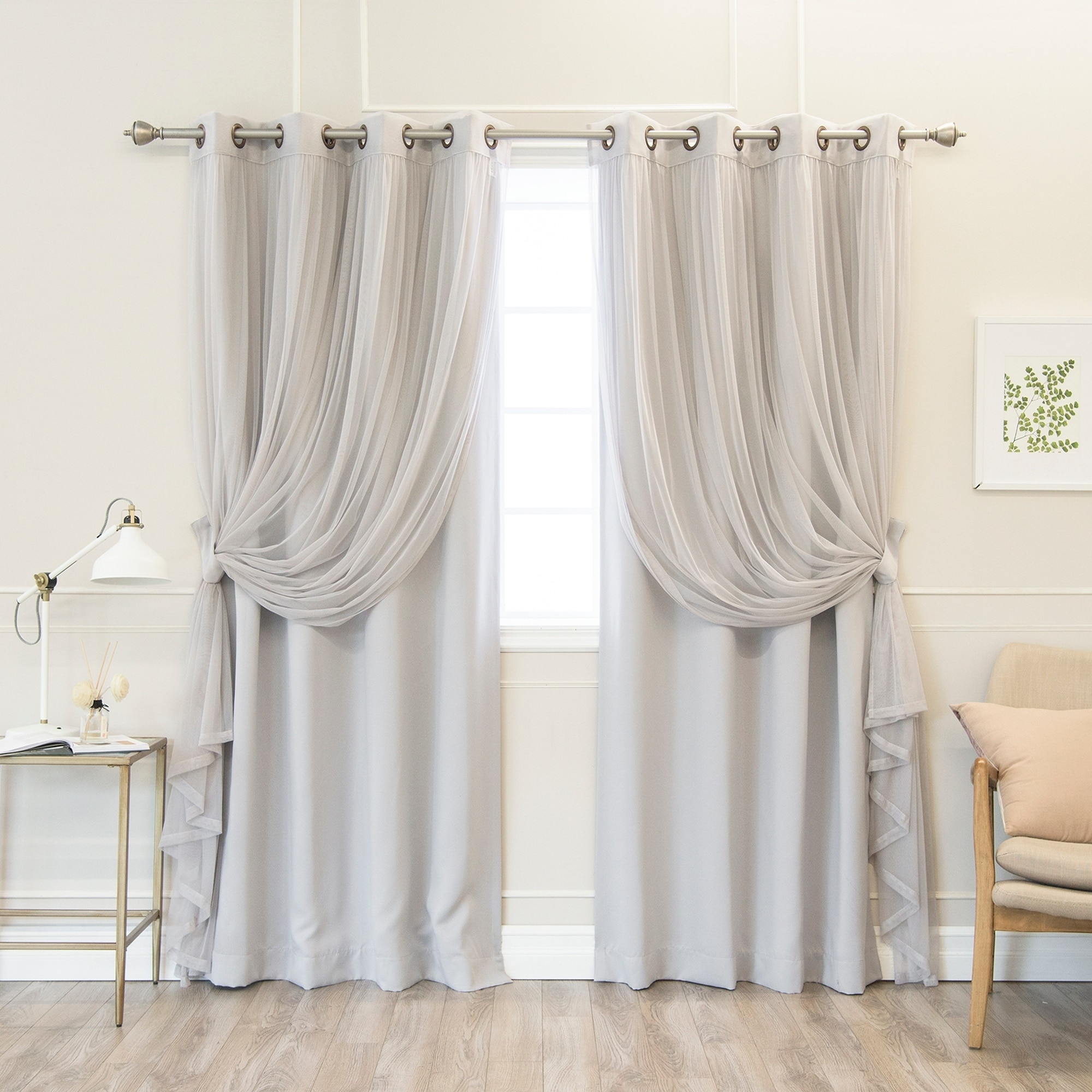 Aurora Home Mix Match Pastel Tulle Blackout 4 Piece Curtain Panel Set N A On Free Shipping Today 17627310