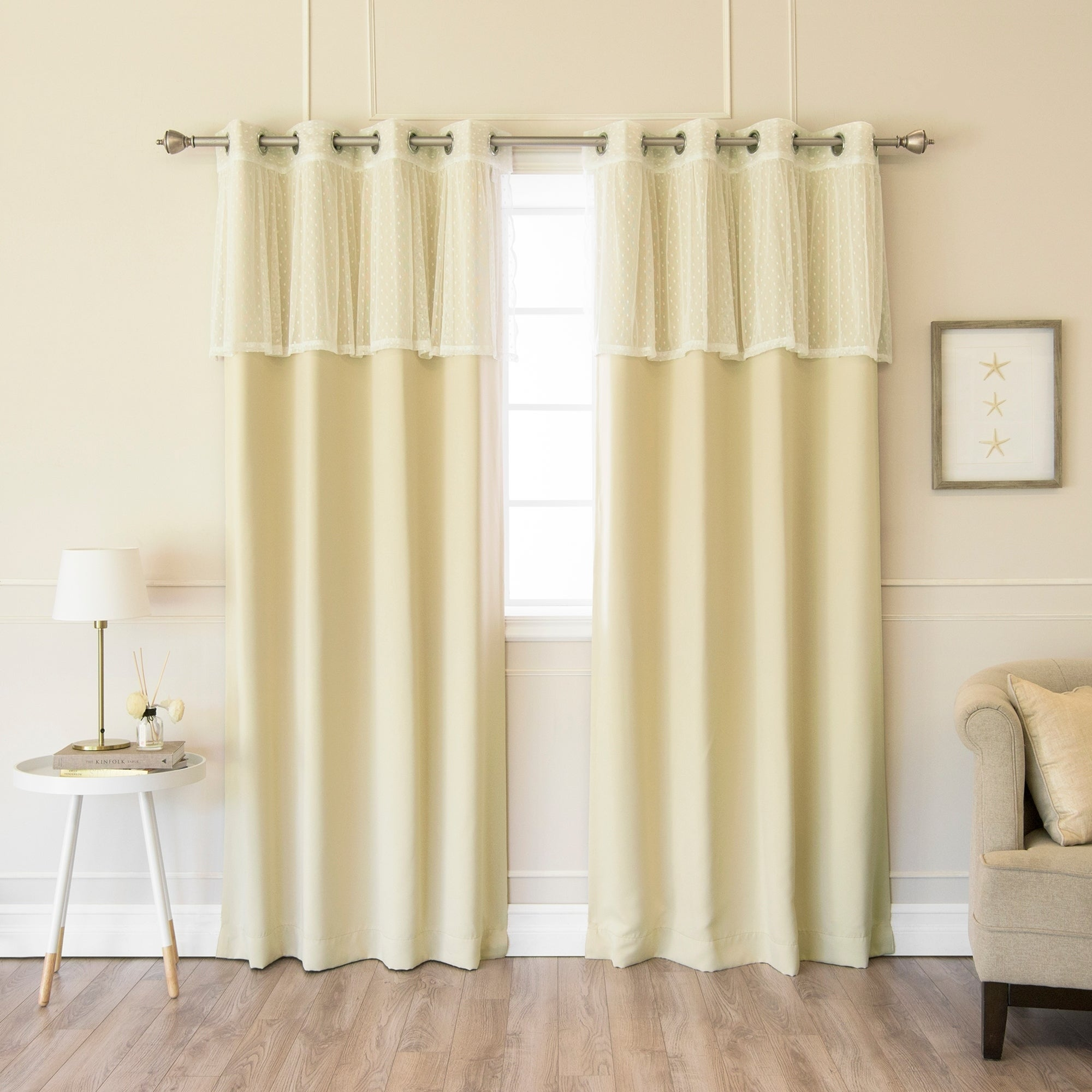 Shop Aurora Home Mix & Match Dotted Lace Valance and Blackout ...
