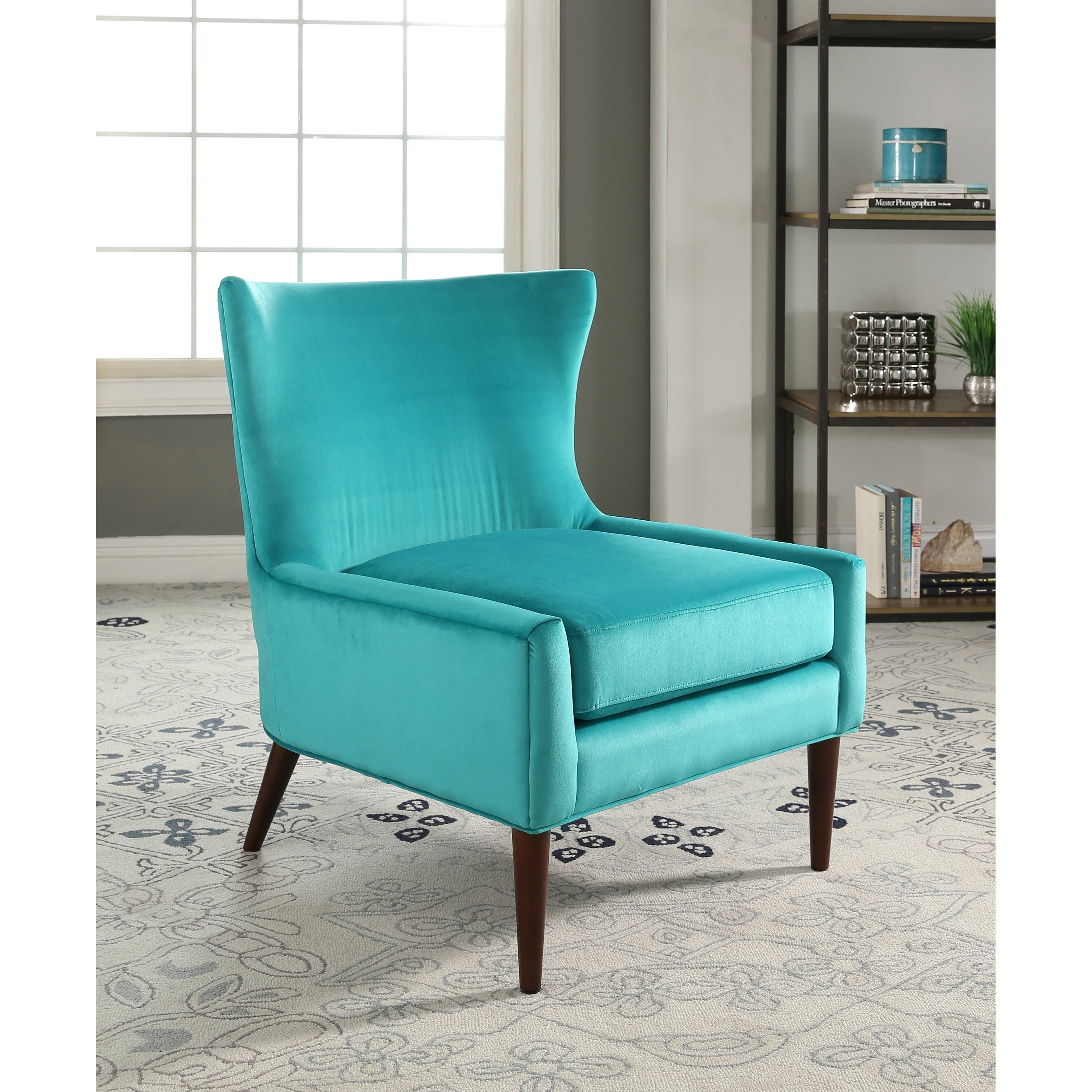 Shop Abbyson Auburn Velvet Wingback Chair   On Sale   Free Shipping Today    Overstock.com   17627563