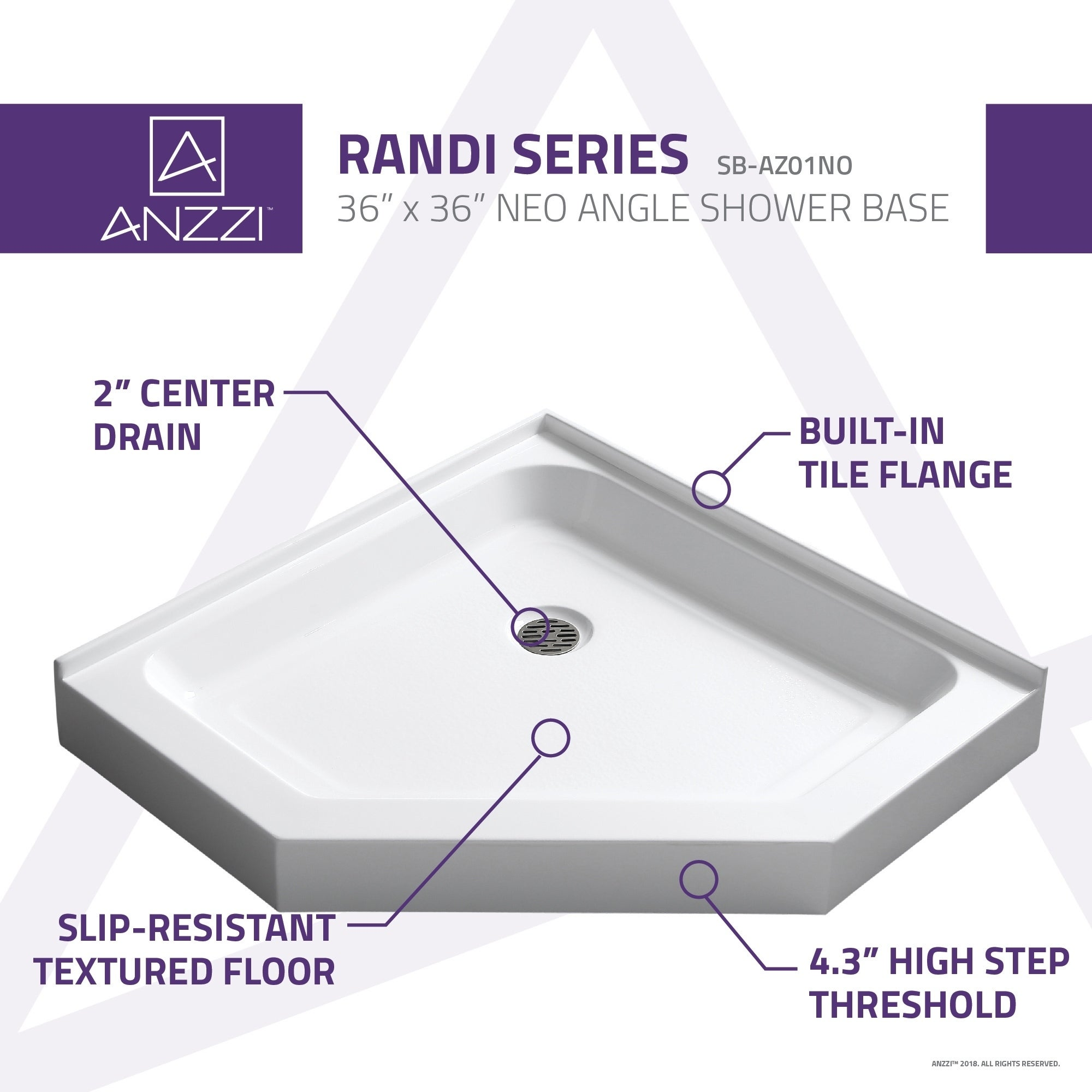 Neo Angle Double Threshold Shower Base In White   Free Shipping Today    Overstock   17630062