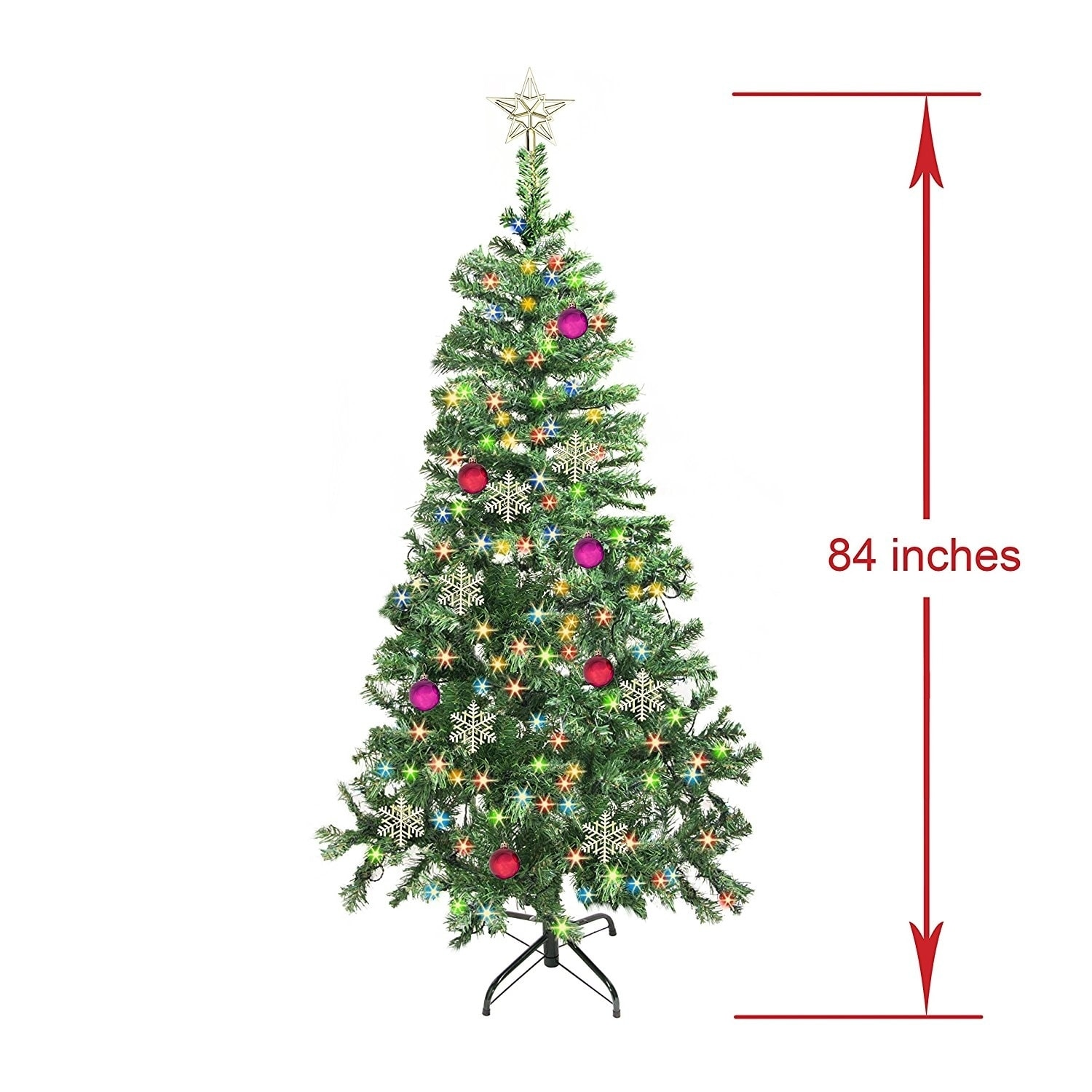 ALEKO 7\' Christmas Artificial Holiday Tree with Multicolored lights ...