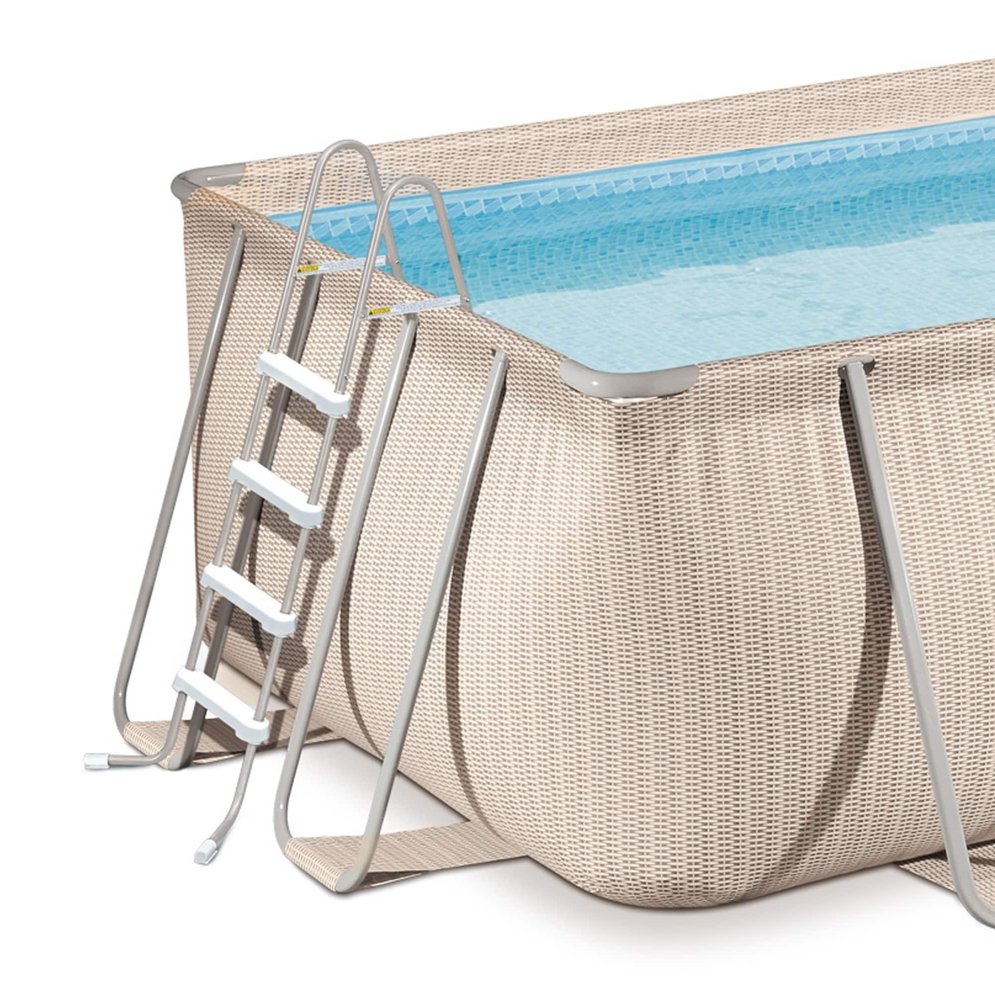 Shop Light Wicker 15-ft Round Metal Frame Pool Package - 48-in Deep ...