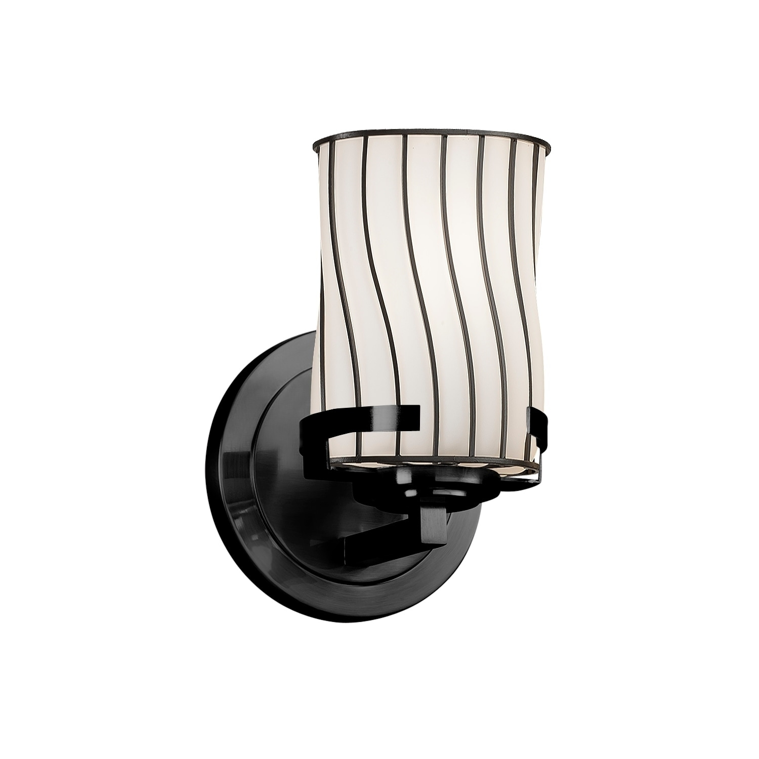 Fusion LED Cylinder with Flat Rim Artisan Glass Shade in Opal Embark 1-Light Outdoor Wall Sconce Matte Black Finish